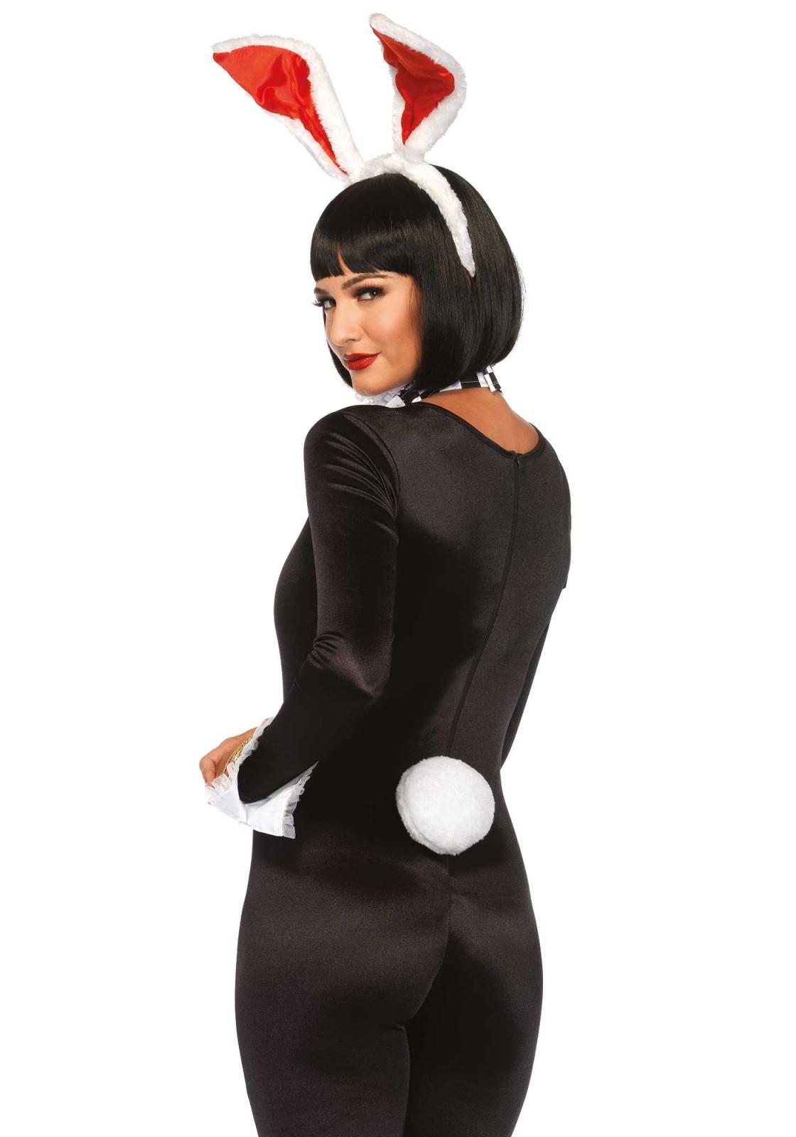 4 pc. Kit Accessoires Lapin Blanc. Il comprend un tour de cou en dentelle à volants, des manchettes ornées d'un coeur à paillettes, une queue à clip et un serre-tête oreilles.