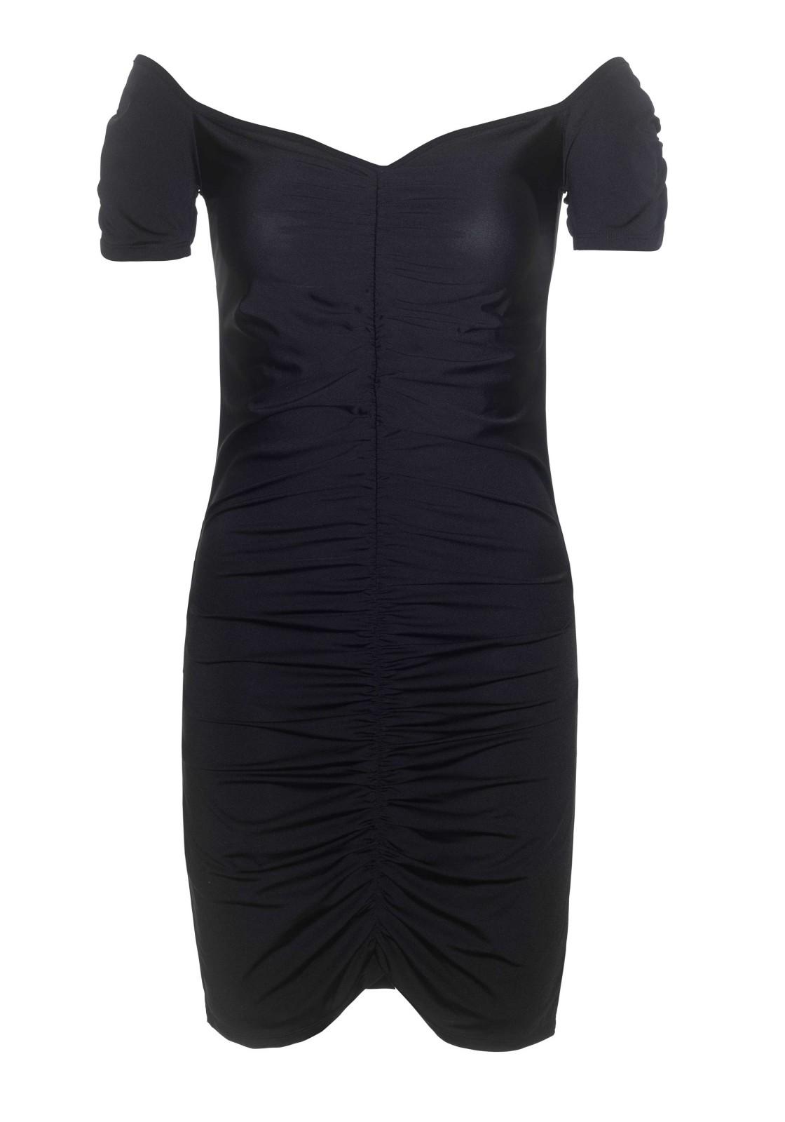 La robe Laverne est une robe moulante en élasthanne froncée dans la partie centrale avec épaules découvertes. La longueur de la robe depuis l'épaule est de 80 cm. Le modèle mesure 178 cm et porte une taille S.