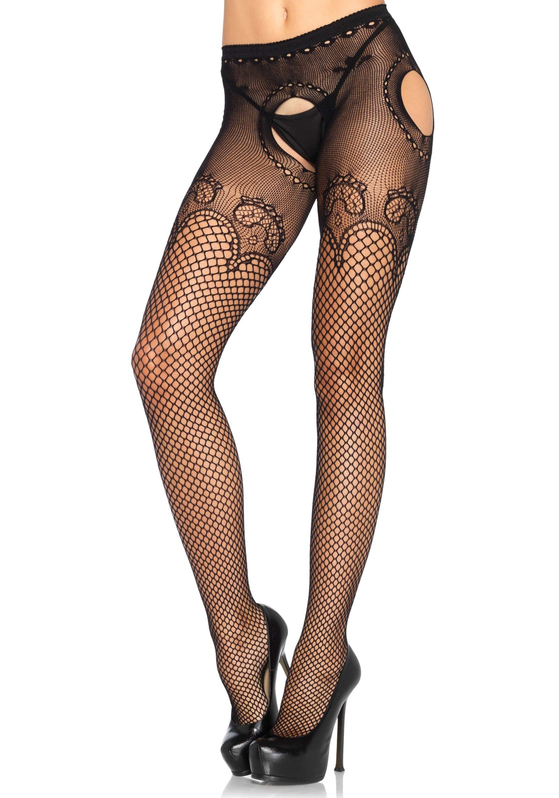 Industrial Net Suspender Hose With A Elegant Duchess Lace Top Accent.