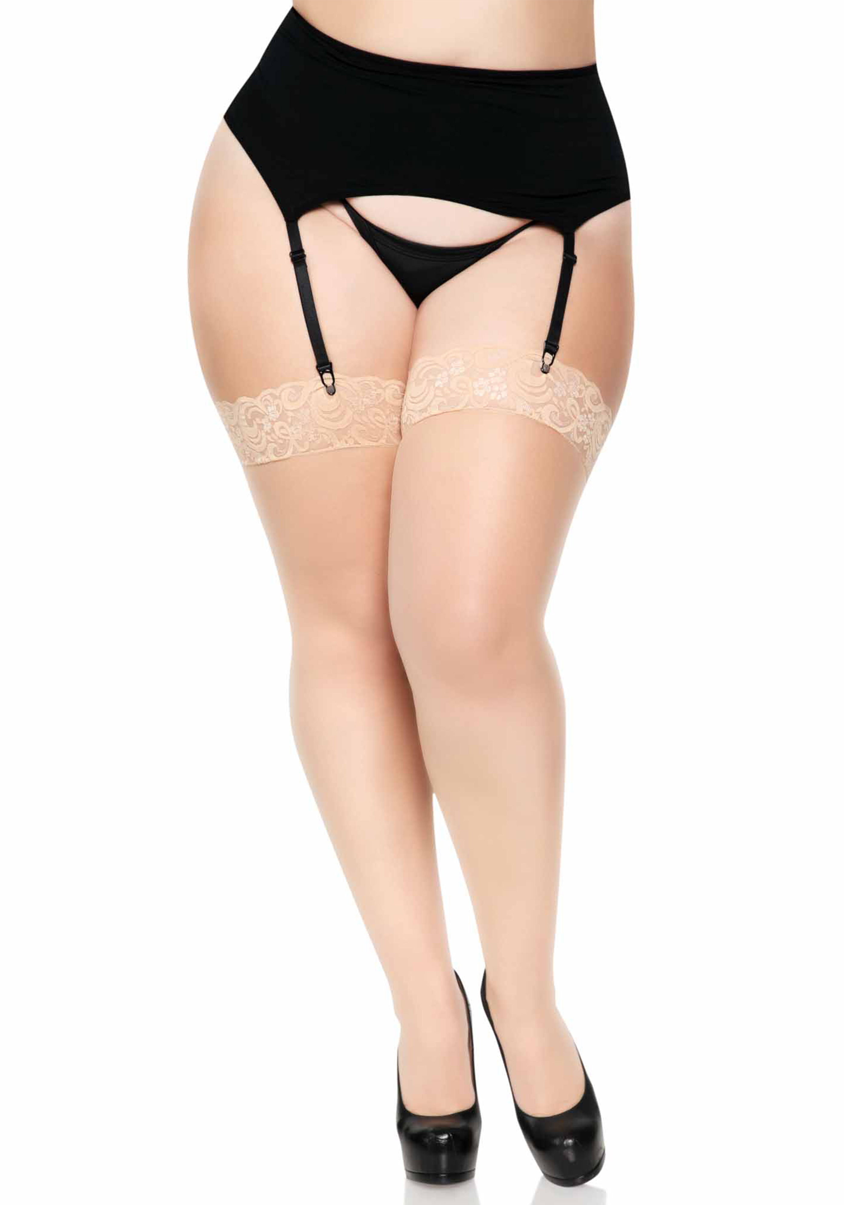 Sheer Stocking With Backseam Lace Top