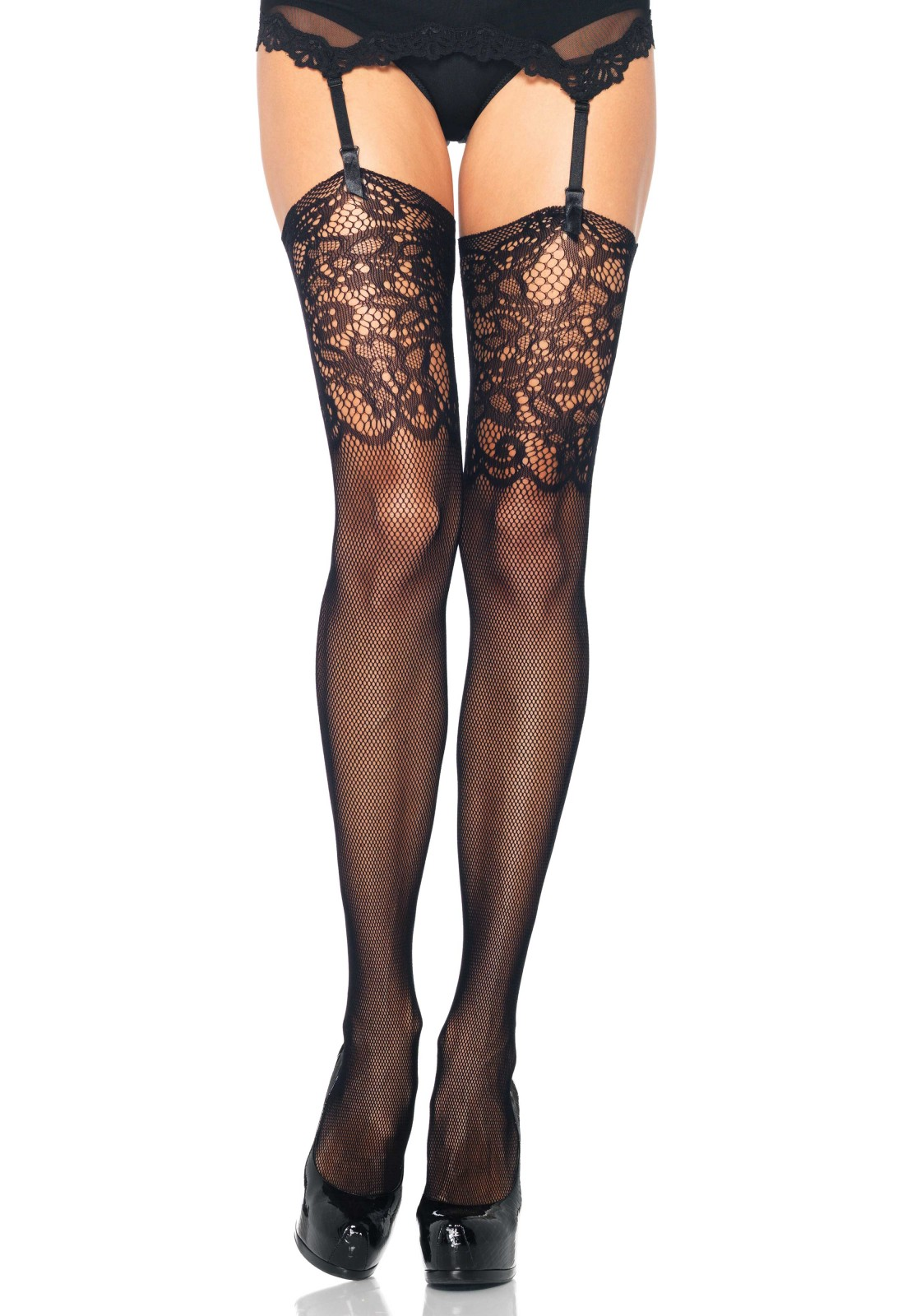 Fishnet Stockings w. Lace Top