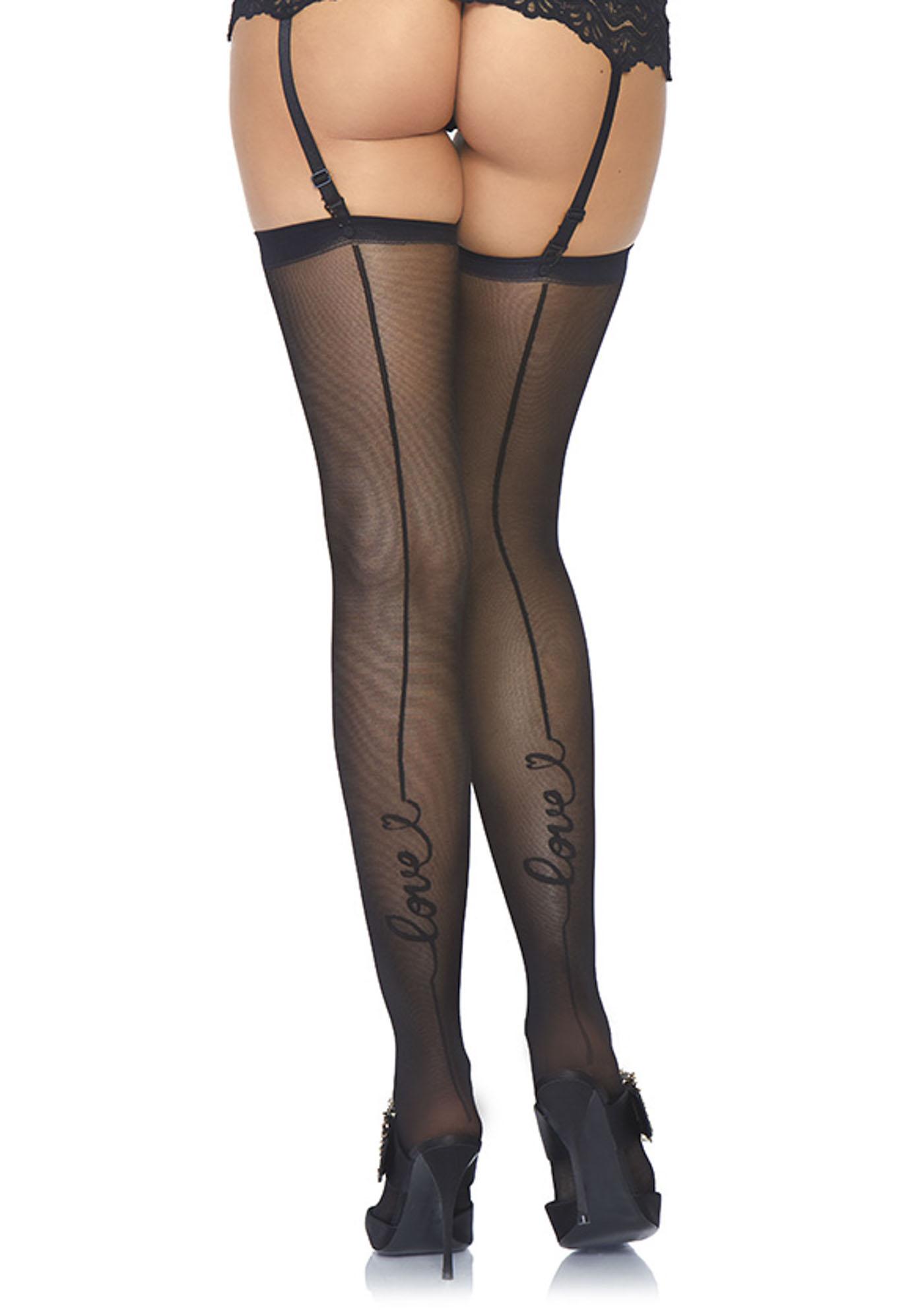 <p>True love sheer backseam stockings.</p>