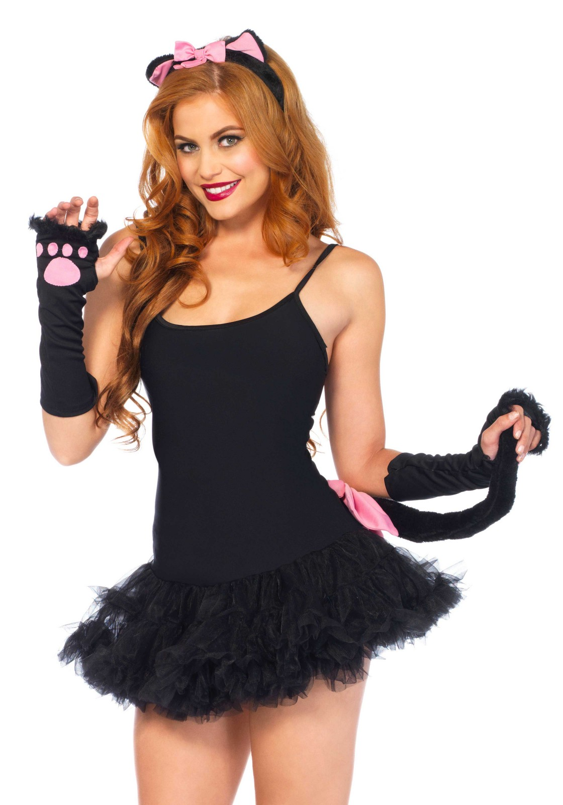 3Pc. Gloves, Headband And Tail. Please take note that the pink bow on the tail is not included.