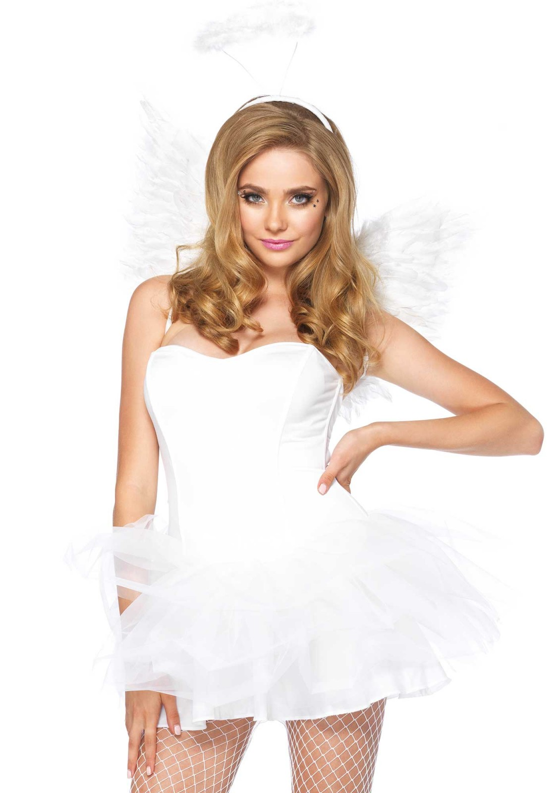 2Pc. Angel kit, consisting of faux feather wings and fluffy halo crown.