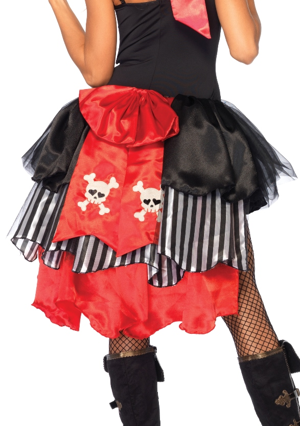 Pin-On Pirate Bustle With Skull & Crossbones Bow Back