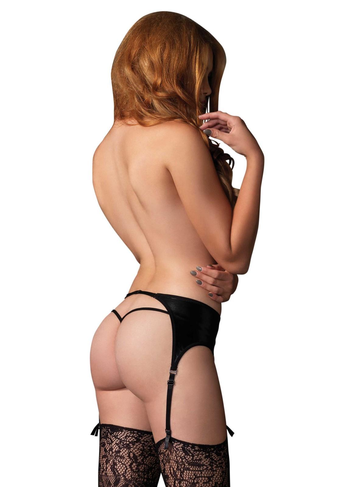 Wet look garter belt with adjustable garter straps and detachable closure.