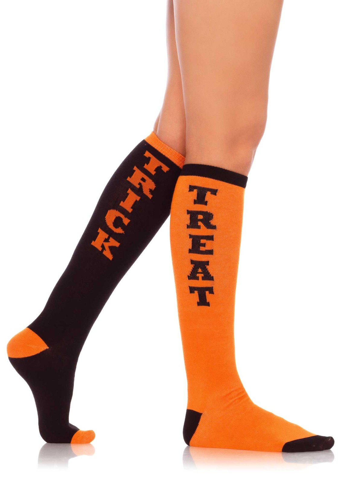 Trick or Treat woven knee socks with elastic cuff.