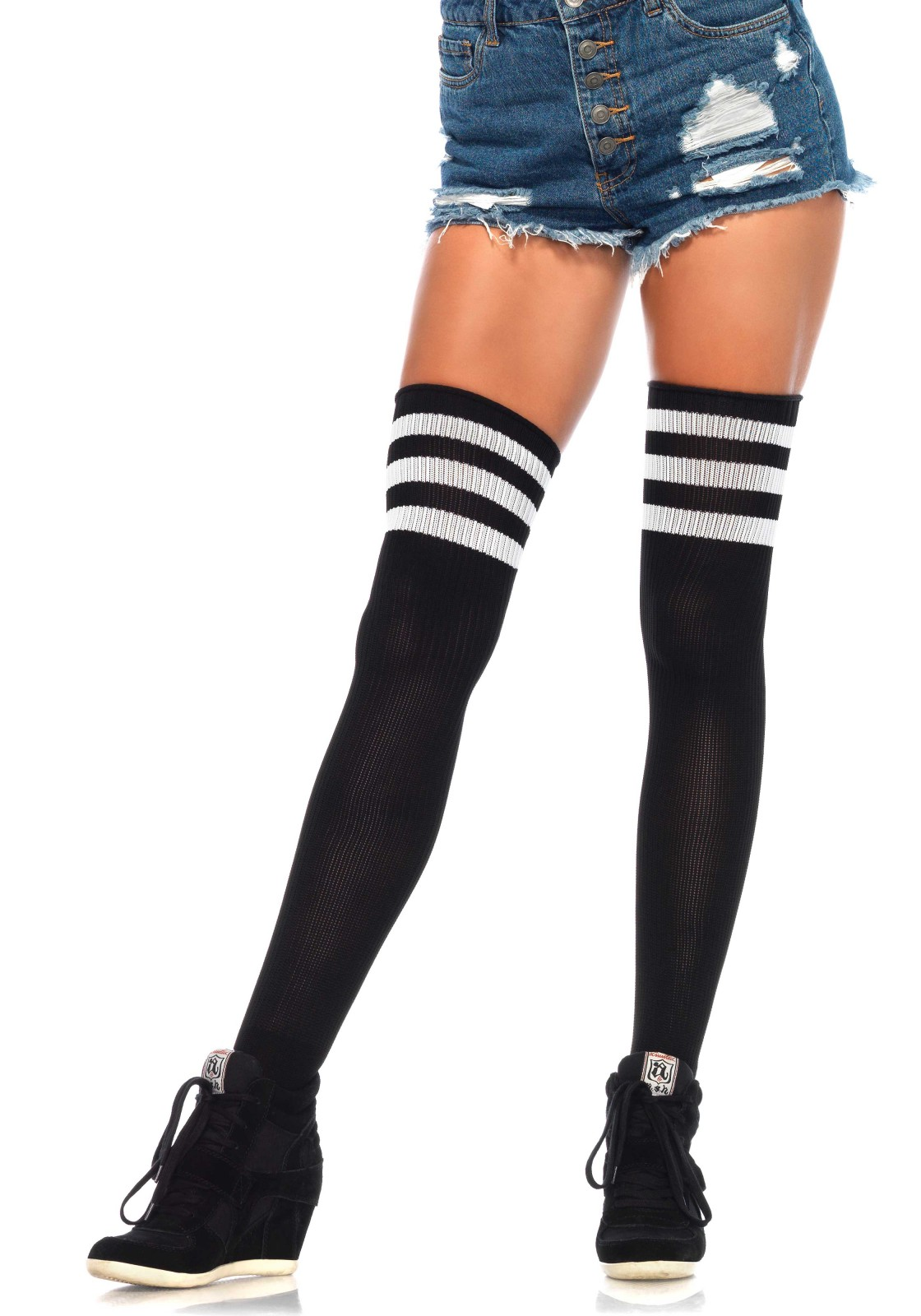 Athlete Thigh Highs With 3 Stripe Top