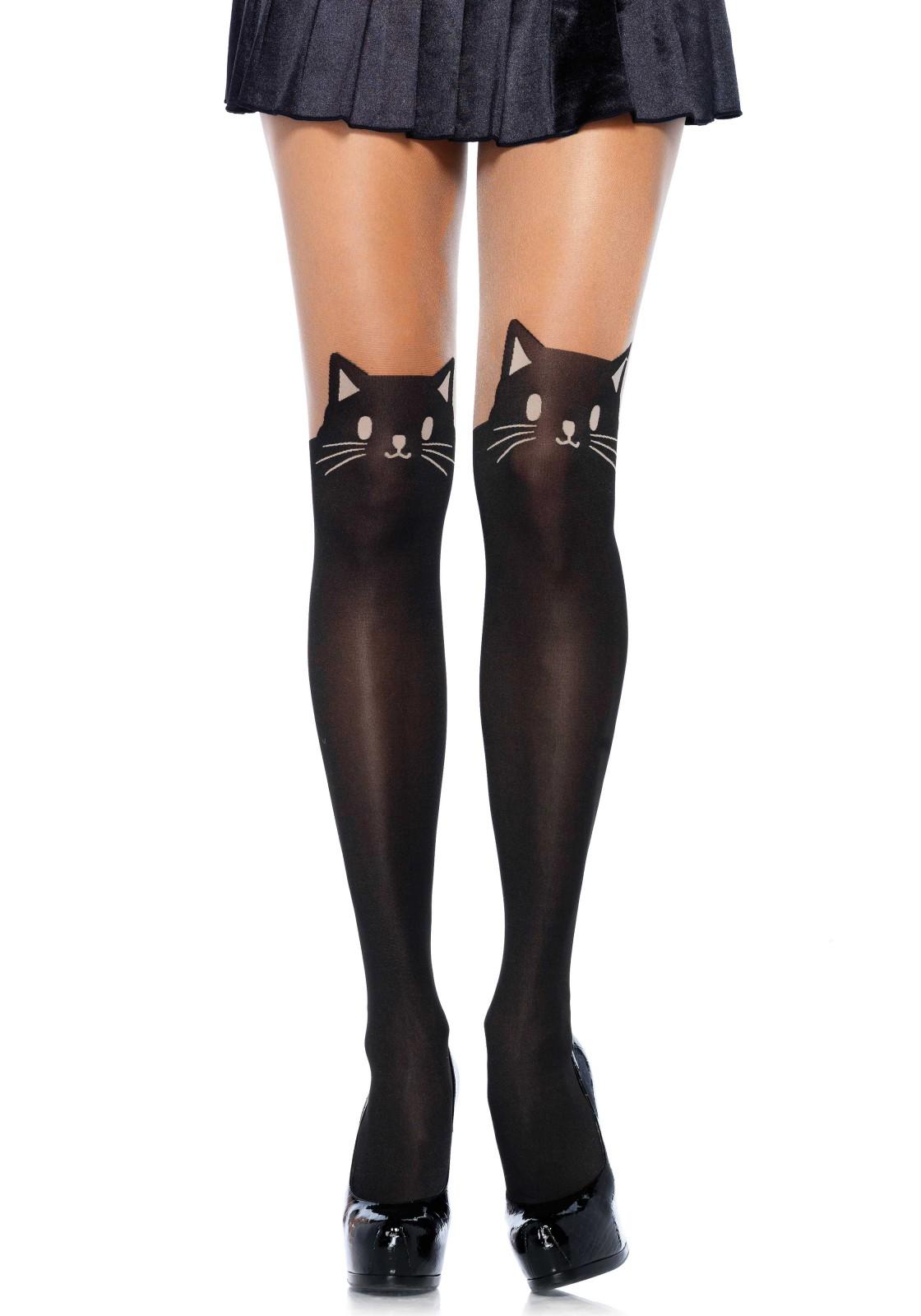 Black Cat Opaque Pantyhose