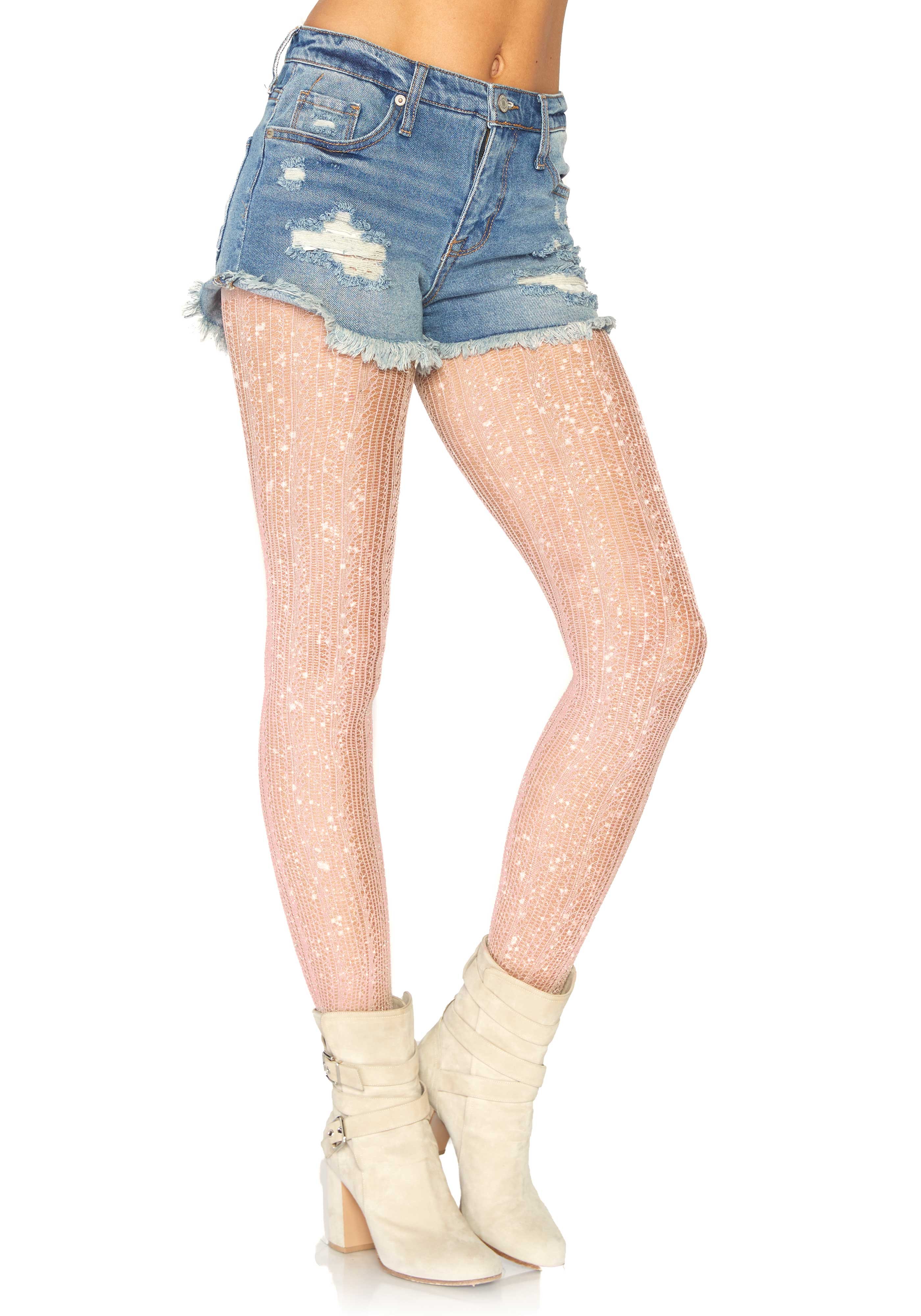 Spandex crocheted stripe lurex pantyhose.