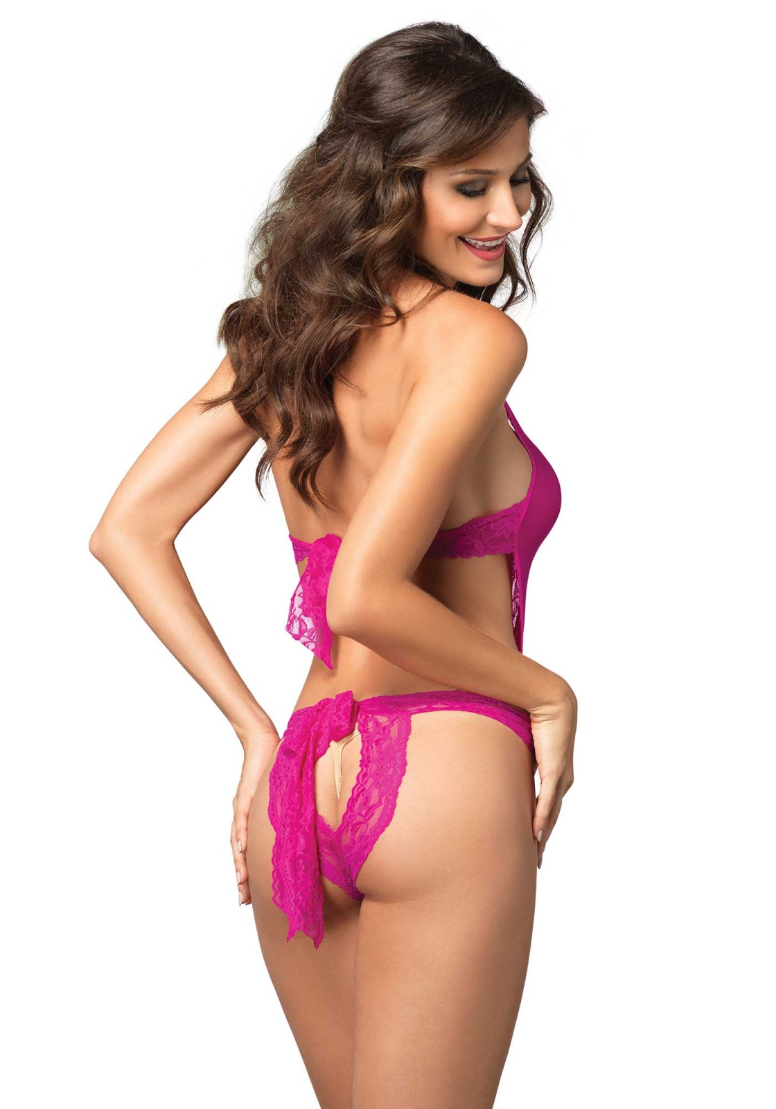 Stretch Lace Deep-V Teddy With Opaque Backless Panty