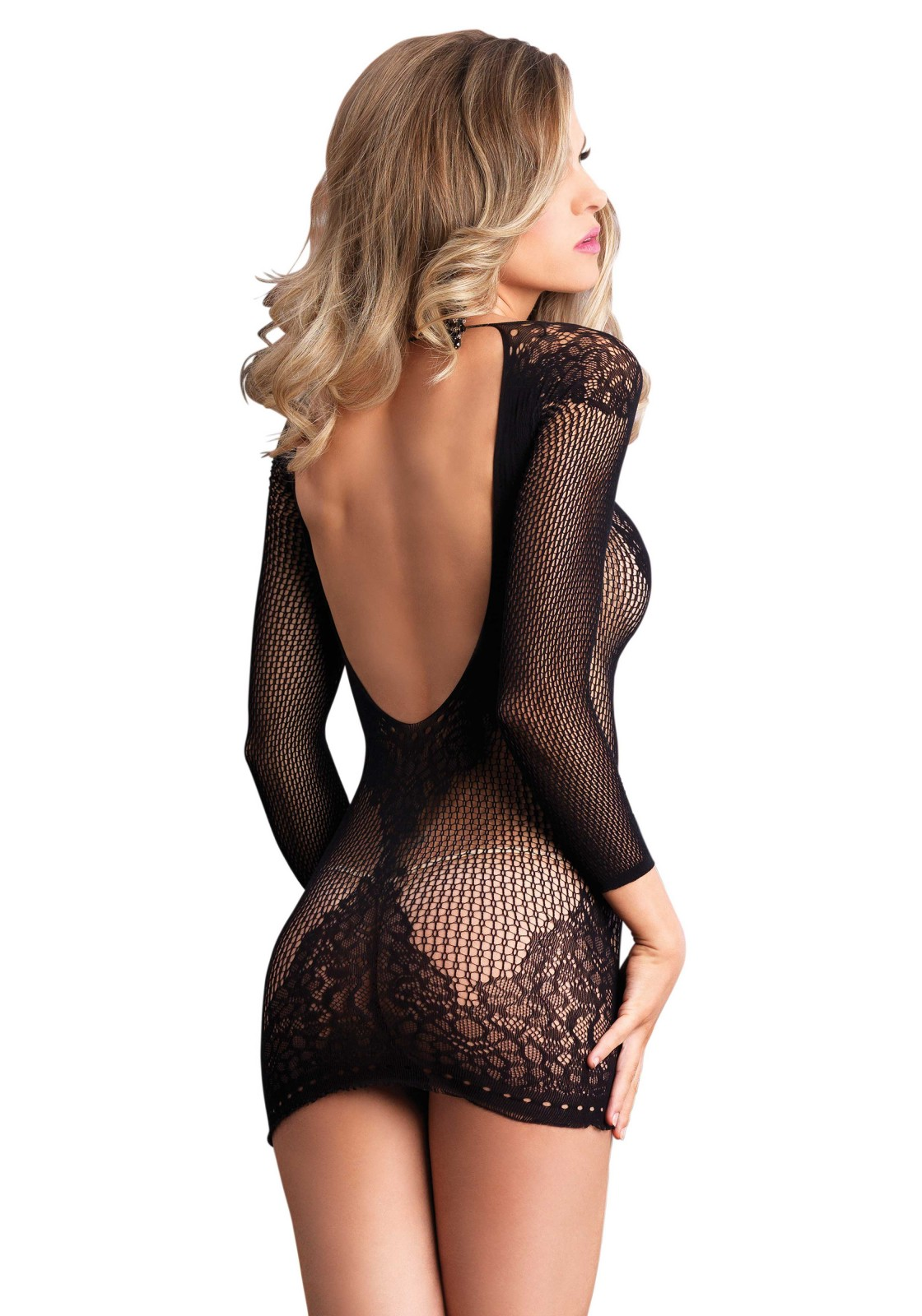 Long sleeved ring net and floral lace low back mini dress.