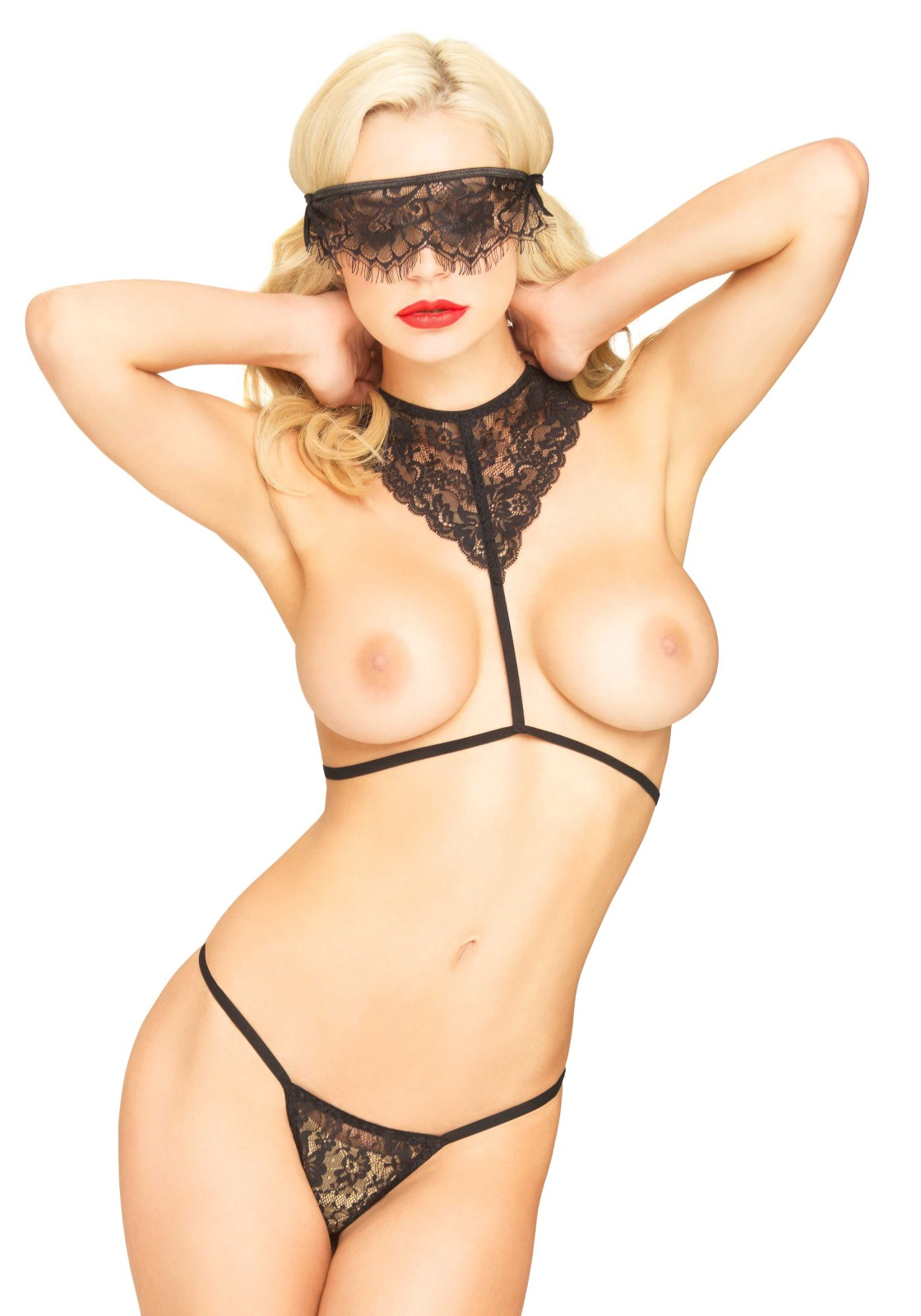 3 PC. Scandal Set, includes scalloped lace body harness, matching g-string and eyelash lace eye mask. Nipple covers not included.