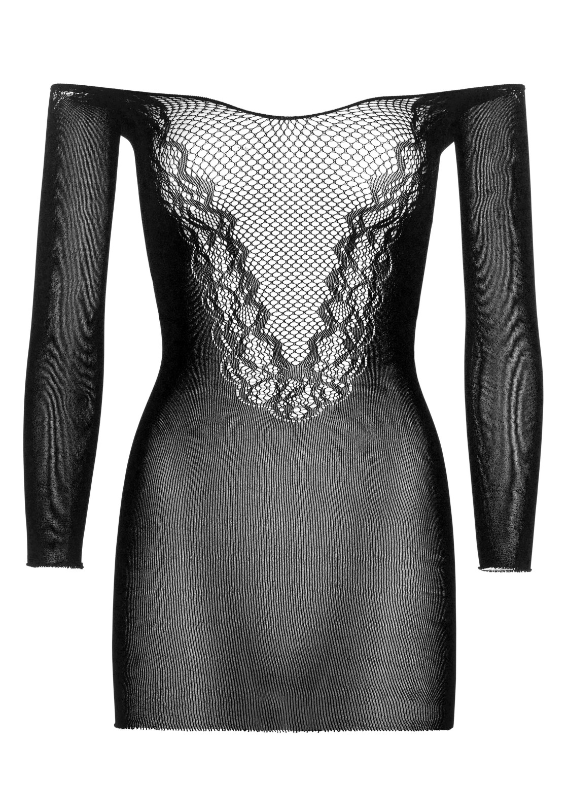 Off the shoulder seamless mini dress with net and lace deep-V front.