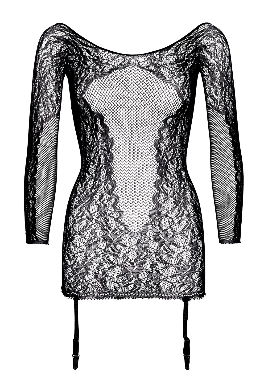Net and lace long sleeved backless garter dress.