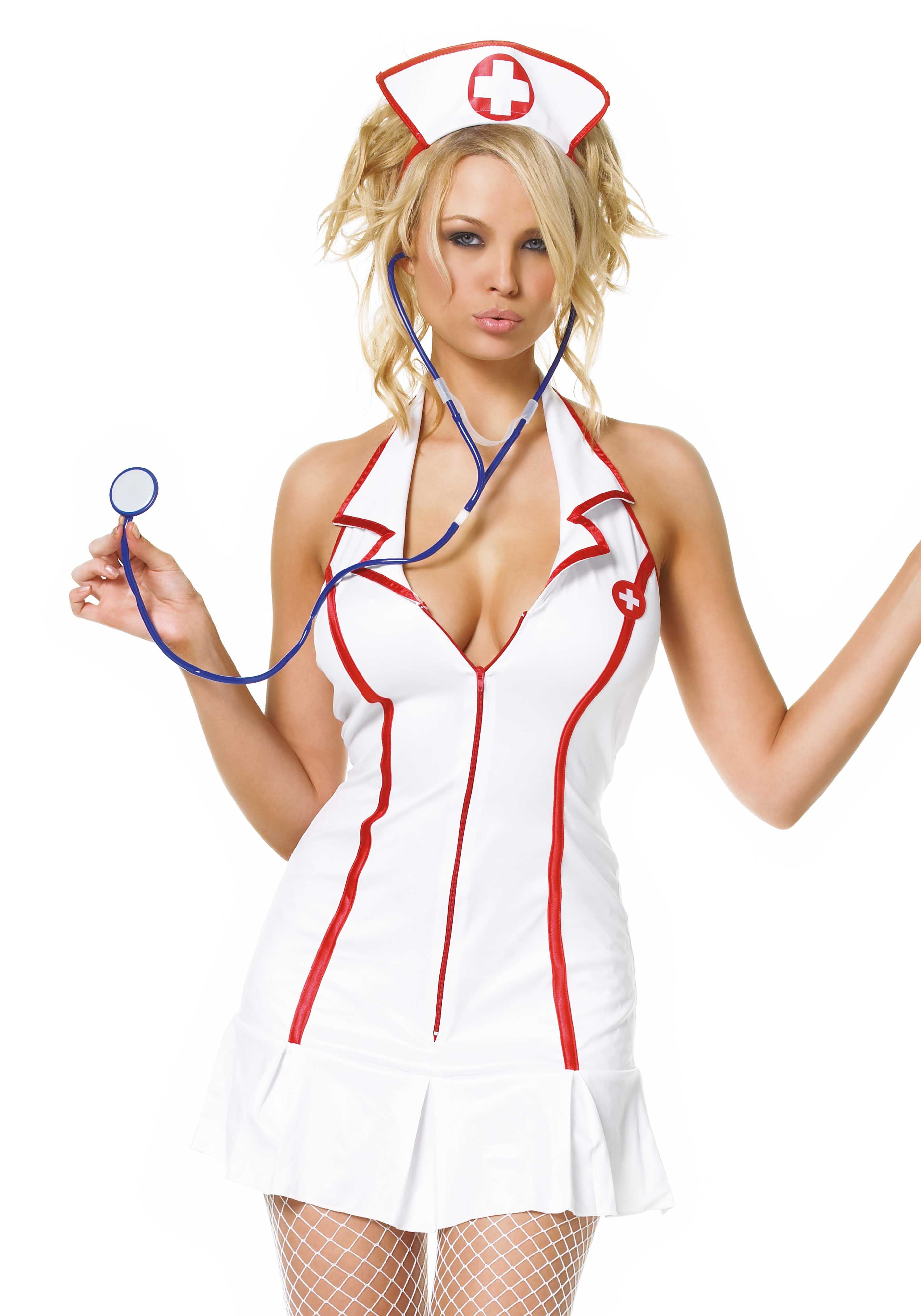 3Pc. Head Nurse Costume Set With Dress, Stethoscope And Headpiece