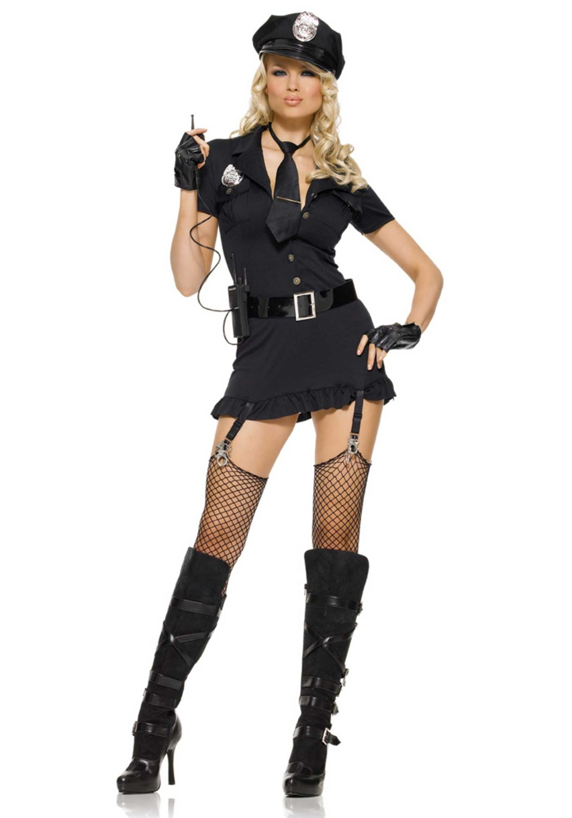 6Pc. Dirty Cop Costume Set With Hat, Dress, Gloves, Belt, Tie And With Walkie Talkie
