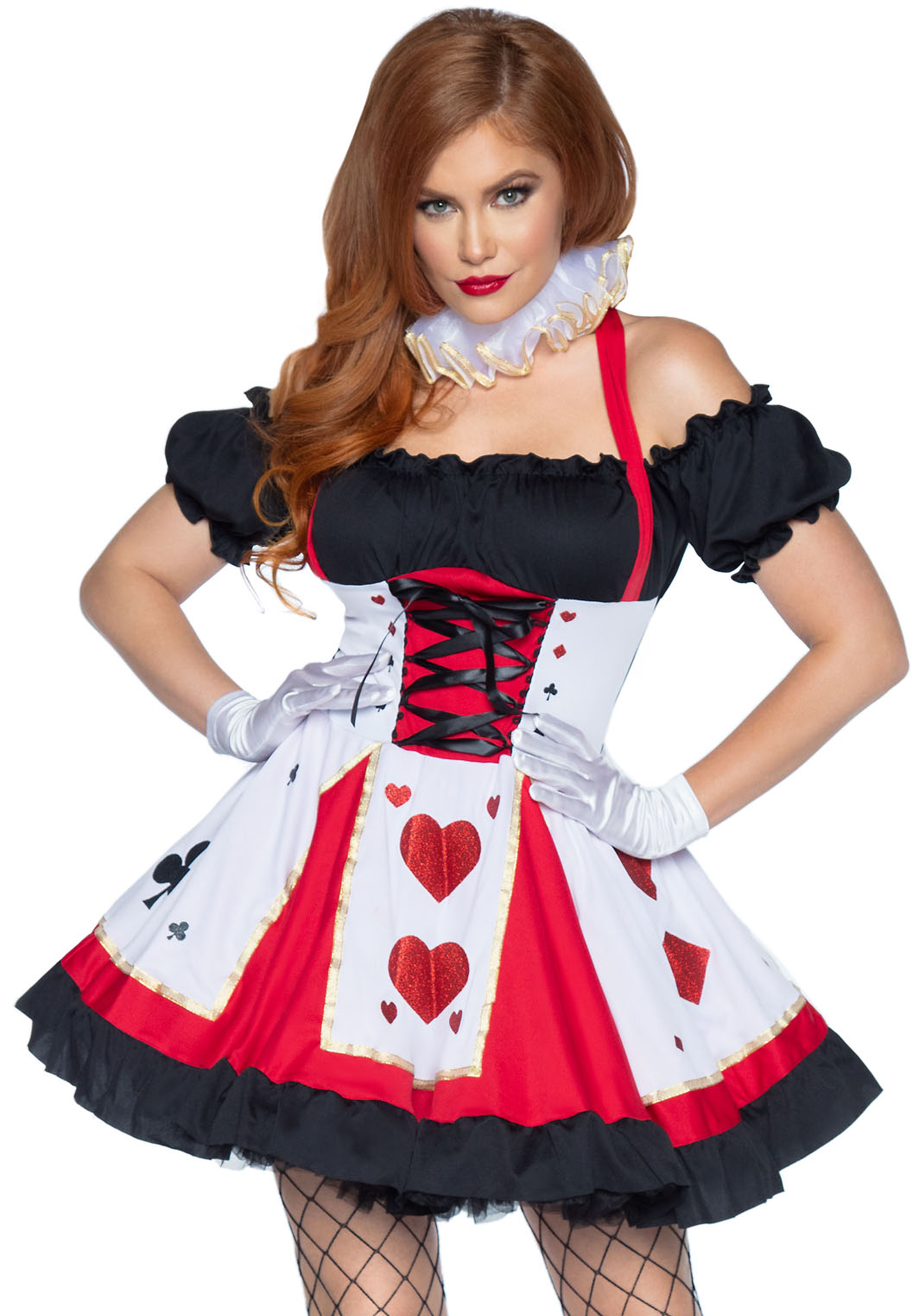 2Pc. Pretty Playing Card Costume Set With Dress And Neck Piece