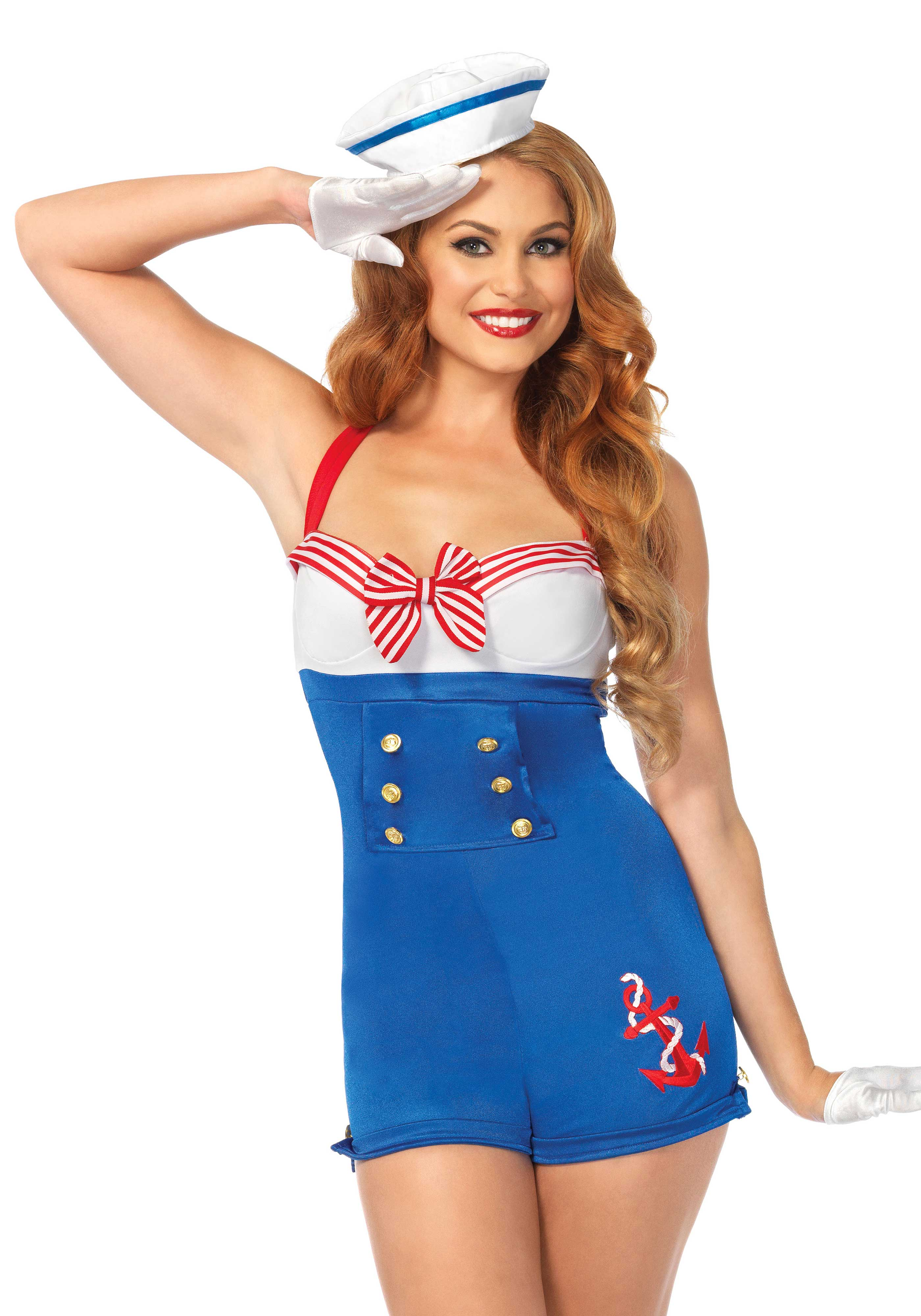 2Pc. High Seas Honey Costume Set With Romper Woven Anchor And Sailor Hat