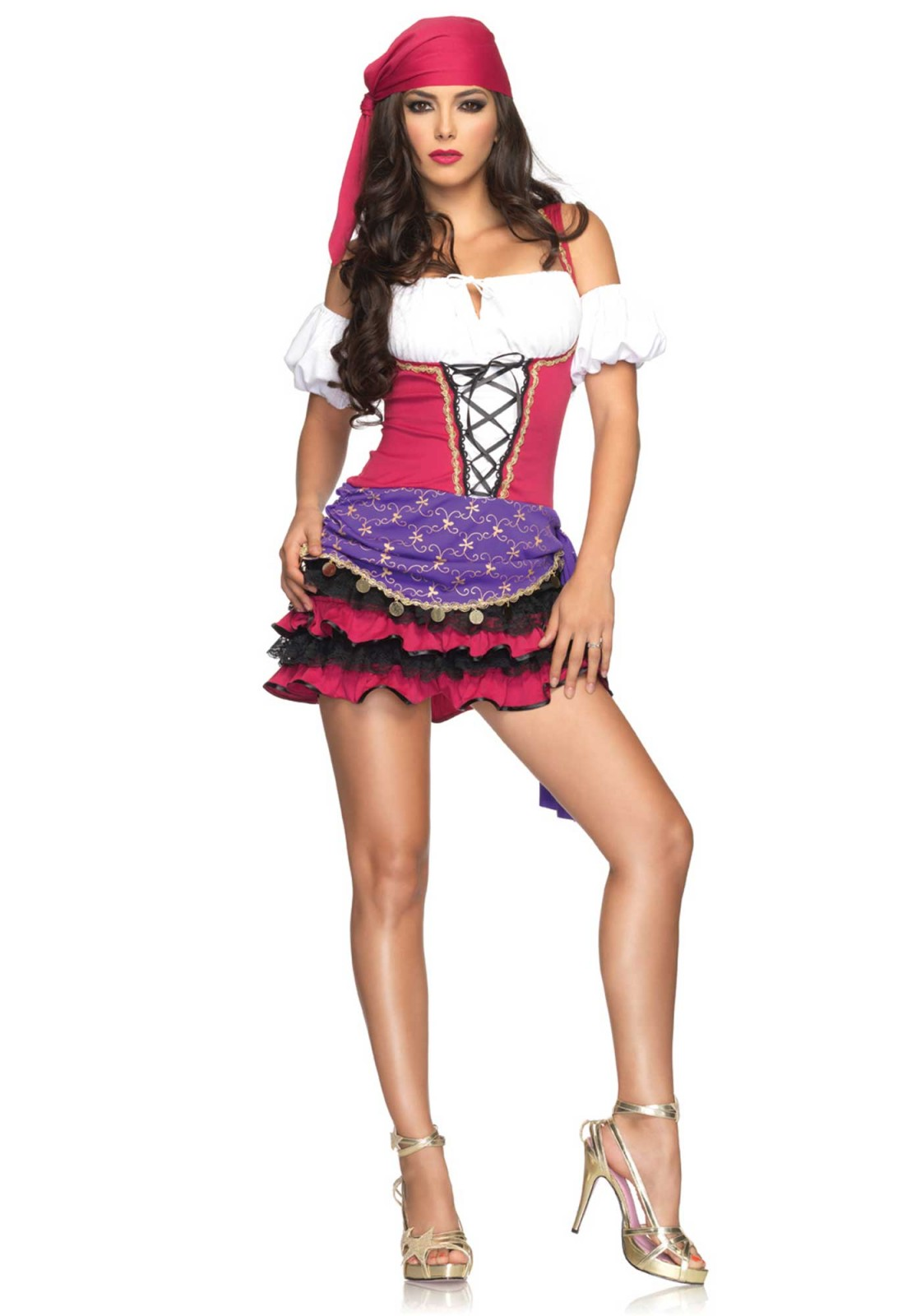 3Pc. Crystal Ball Gypsy Costume Set With Peasant Dress, Puff Sleeves, Head Scarf