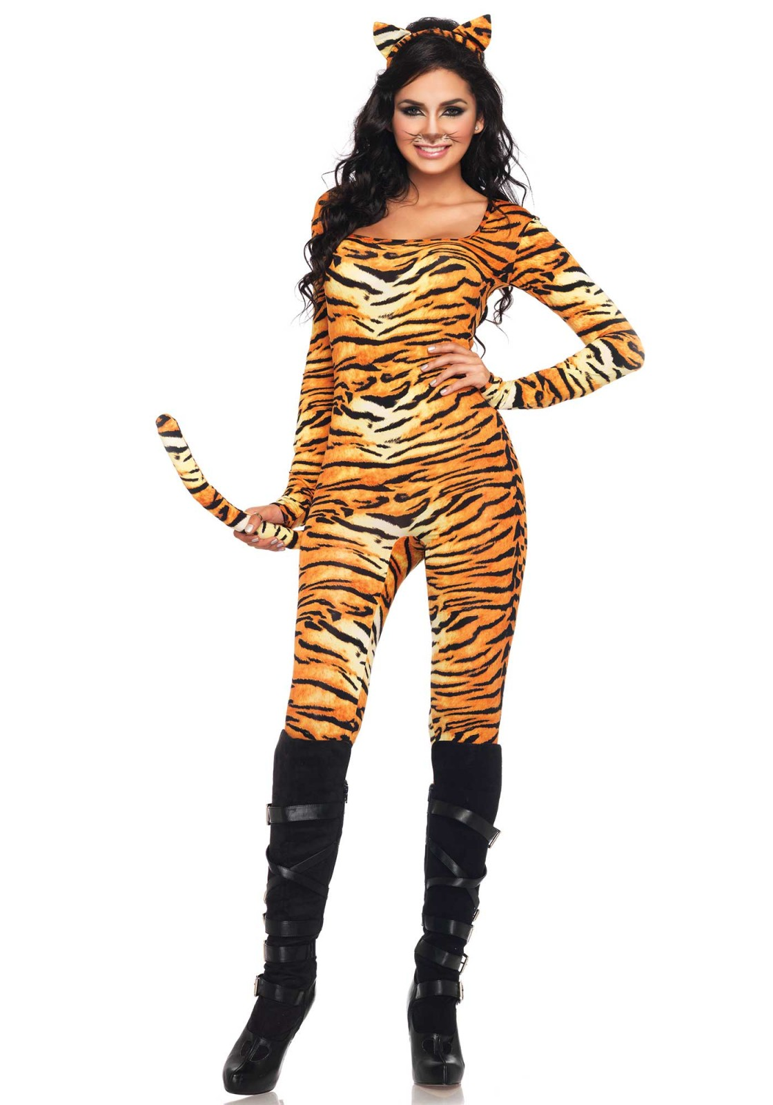 2Pc. Wild Tigress Costume Set With Catsuit With Tail And Matching Ear Headband