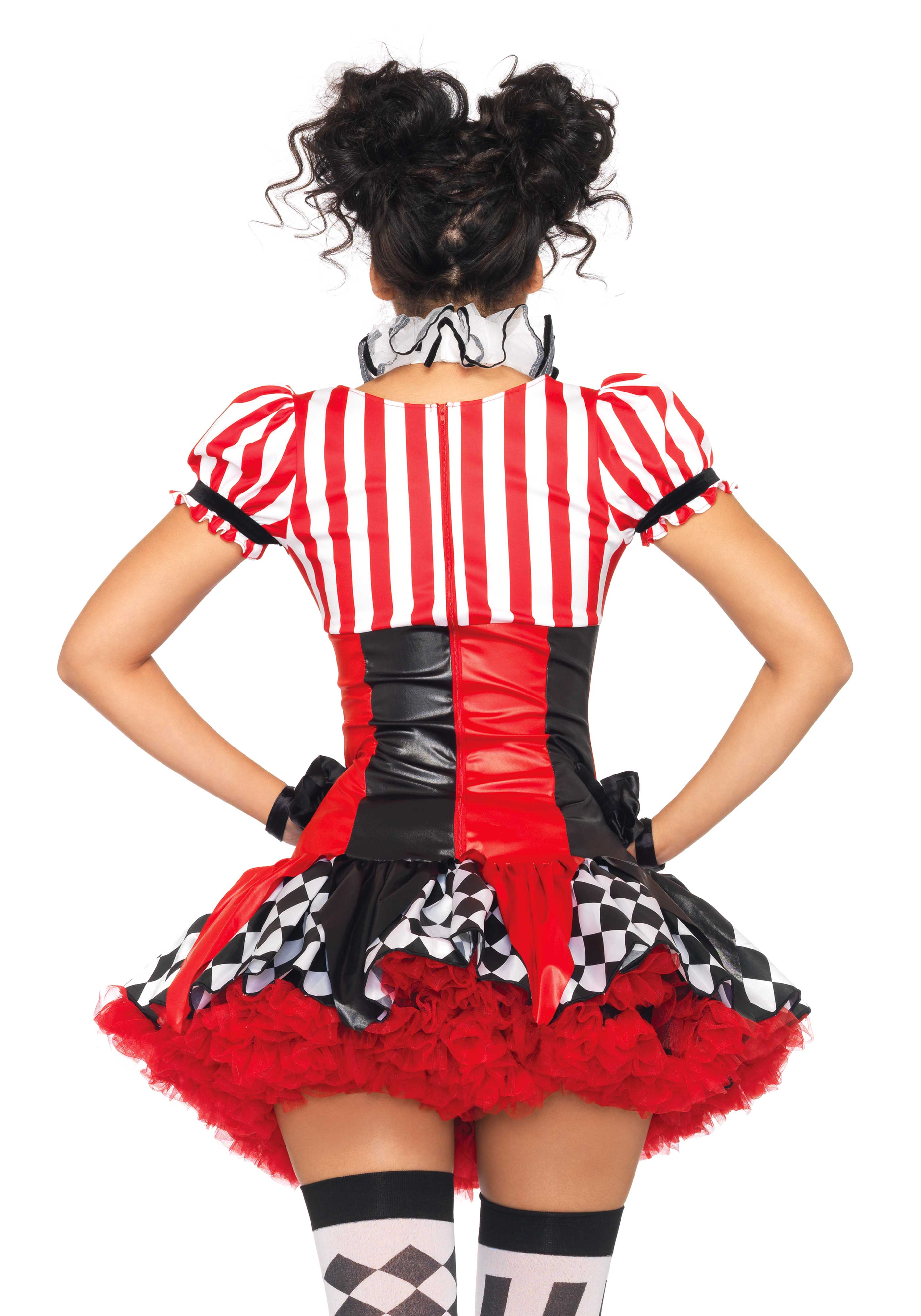 3Pc. Harlequin Clown Costume Set With Suspender Dress Ruffle Neck Piece ...  sc 1 st  Leg Avenue & 3Pc. Harlequin Clown Costume Set With Suspender Dress Ruffle Neck ...