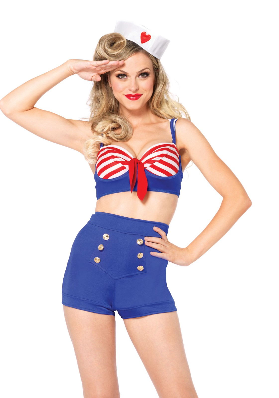 All hands on deck! With this costume everyone is willing to help. The set includes a underwire bra top with neckerchief back accent, high waist shorts with nautical button detail and matching sailor hat. This costume runs small. When in doubt we recommend to go one size up.