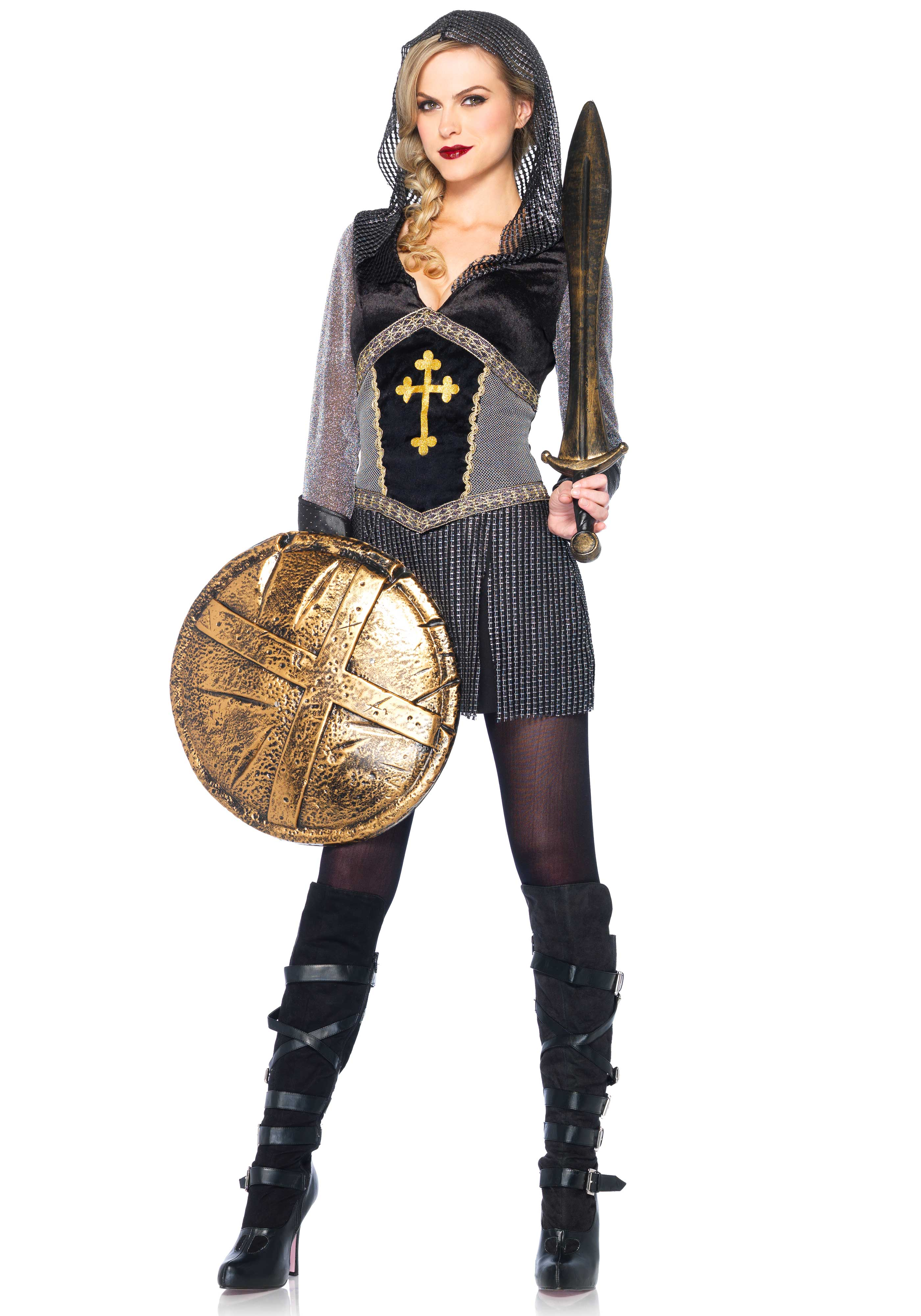 Look tough in this 'Joan of Arc' costume. It's a faux chainmail hooded dress with cross detail and studded faux leather cuffs. The sword, shields and tights are not included. When in doubt we recommend to go one size up.