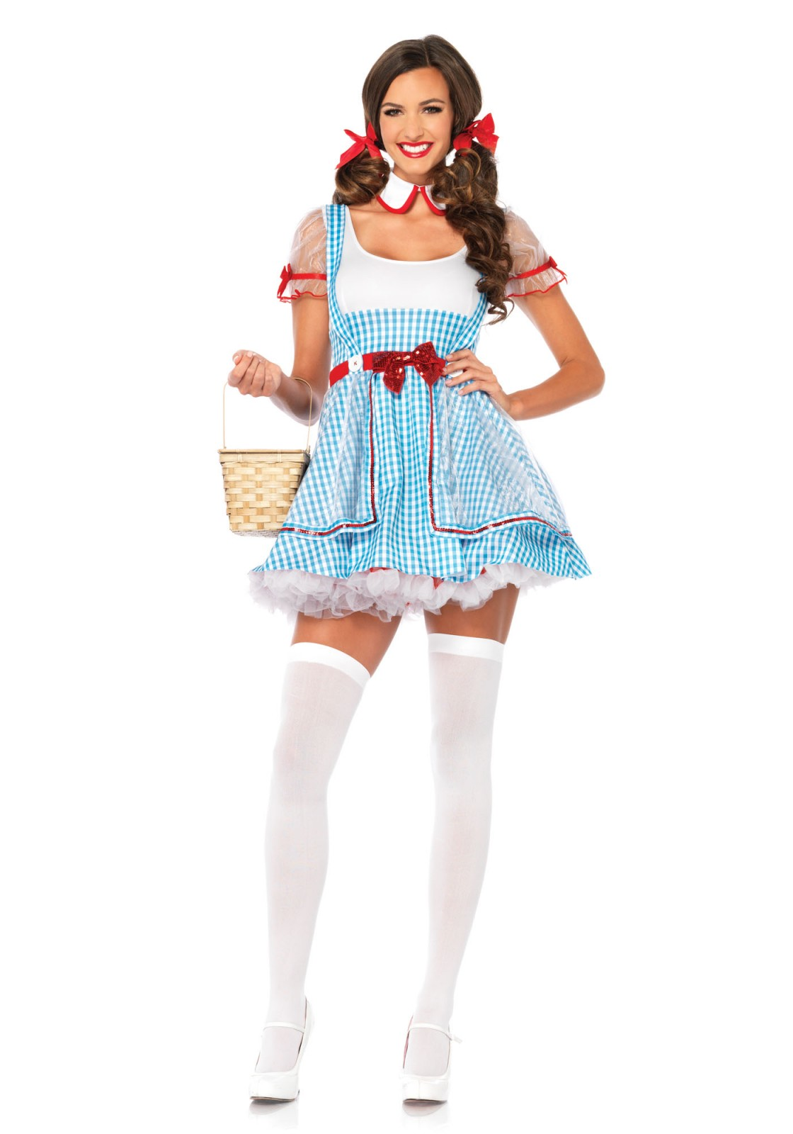 This 'Oz Beauty' costume will make heads turn in the wonderful world of Oz. The set includes a high waist suspender dress with sequin trimmed sheer panel skirt overlay and matching peter pan collar. The tutu is not included. The sleeves are tight. When in doubt we recommend to go one size up.