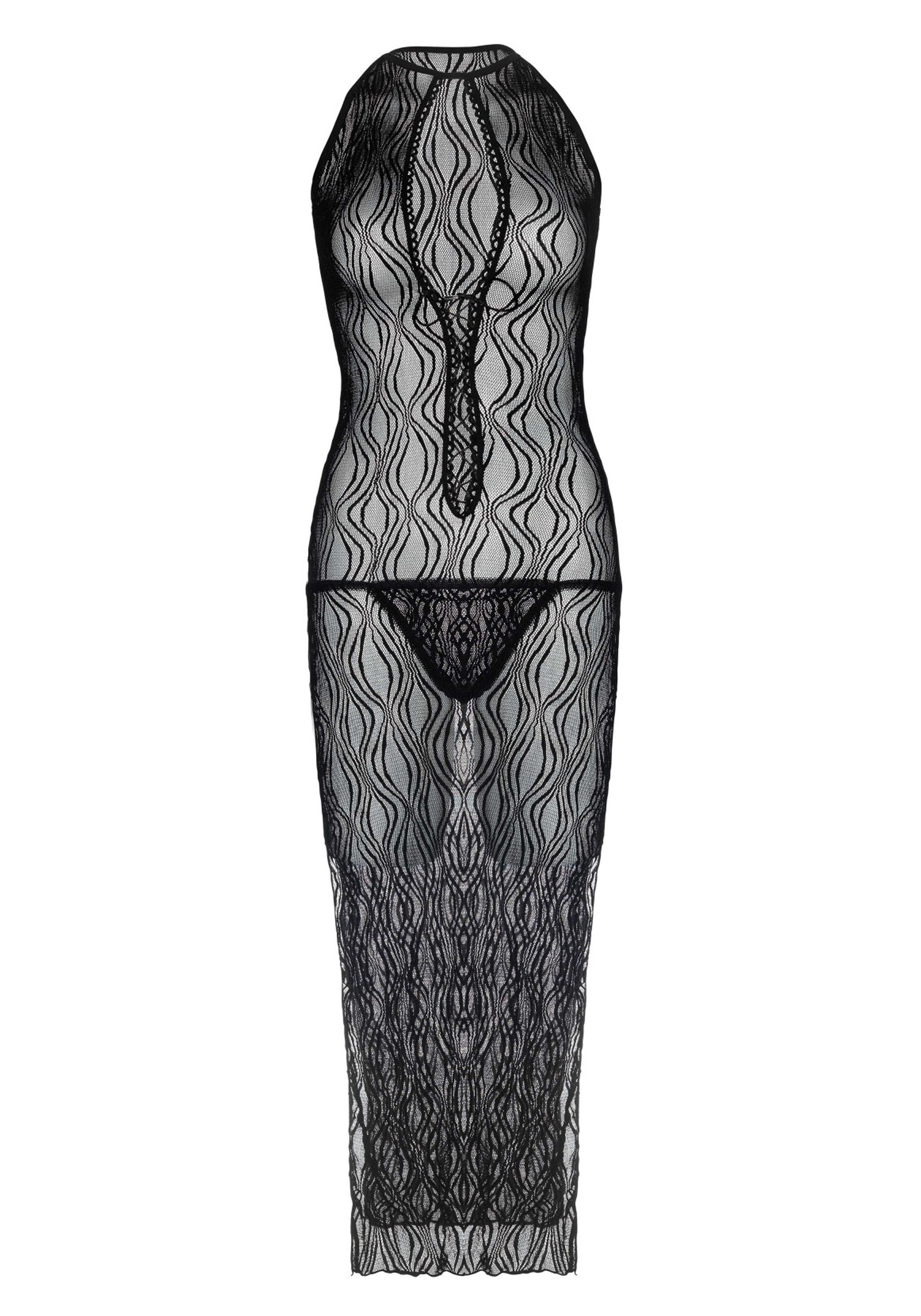 Swirl Lace Long Dress With Lace Up Front With G-String