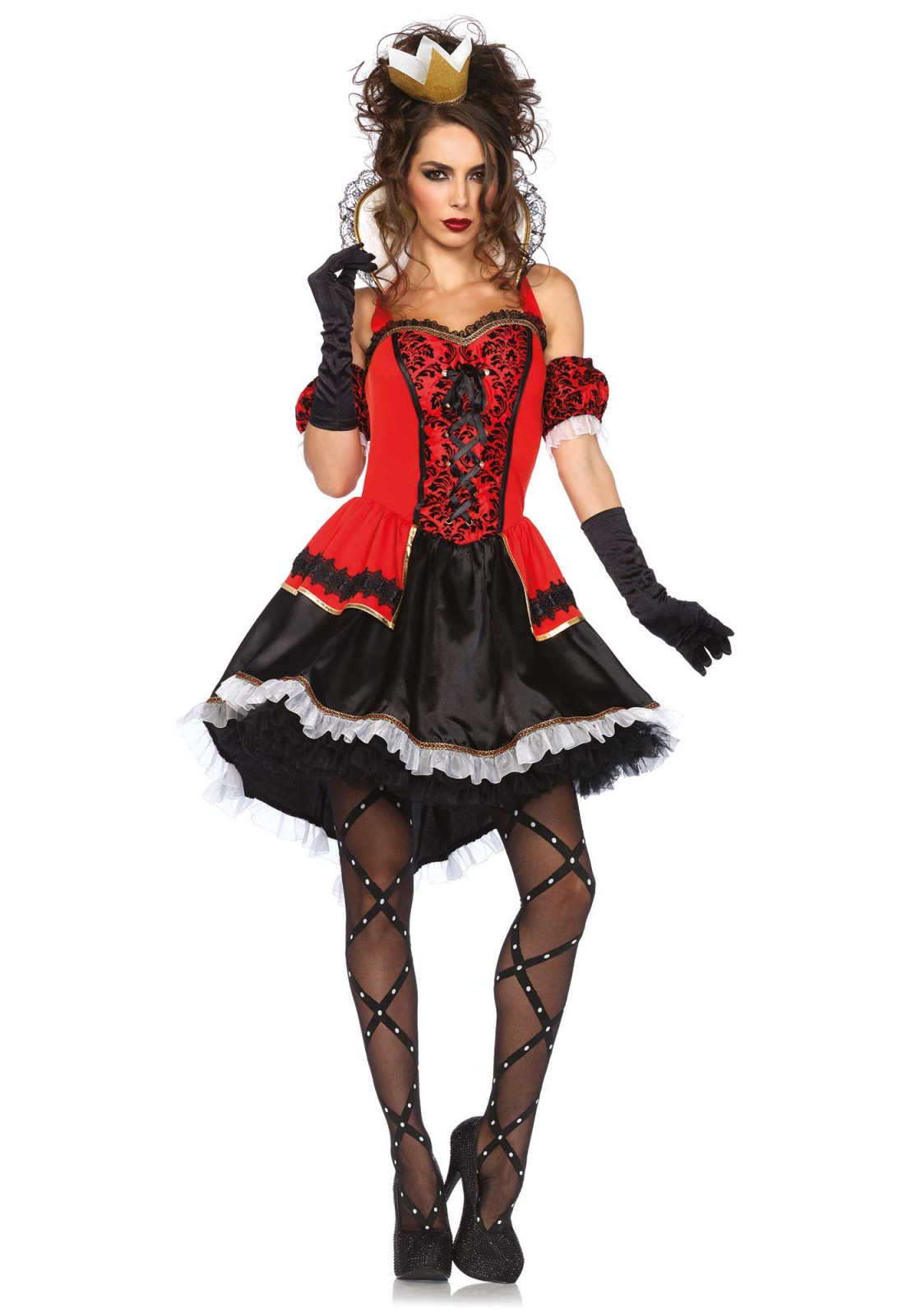 Of course you are the most seductive ruler in the world. This 3PC queen costume includes high/low satin and brocade halter dress with woven ribbon venetian lace trim, matching arm puffs and crown headband. Please take note that the petticoat, stockings and gloves are not included. The length of size Small, measured from the shoulder is 82 cm/ 32 inch at the front and 108 cm/ 43 inch at the backside. The model has a length of 178 cm/ 70 inch and is wearing a size S.