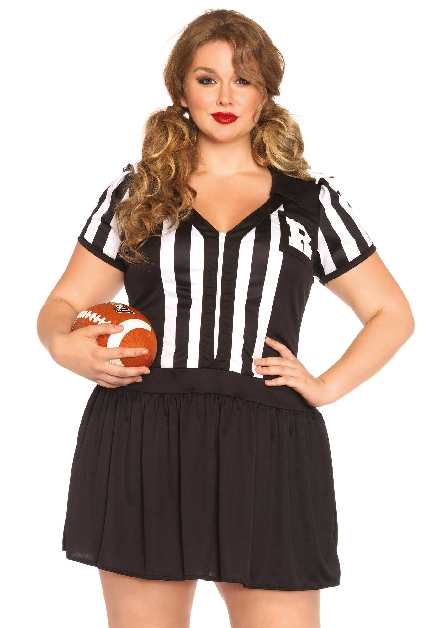 This hottie knows what she's doing. This referee or sports uniform is a dress with zipper on the fron en initial pocket details. Please take note that the socks and ball are not included. The length of size 1XL-2XL, measured from the shoulder is 103cm / 41inch. The model has a length of 185 cm/ 73 inch and is wearing a size 1XL-2XL.