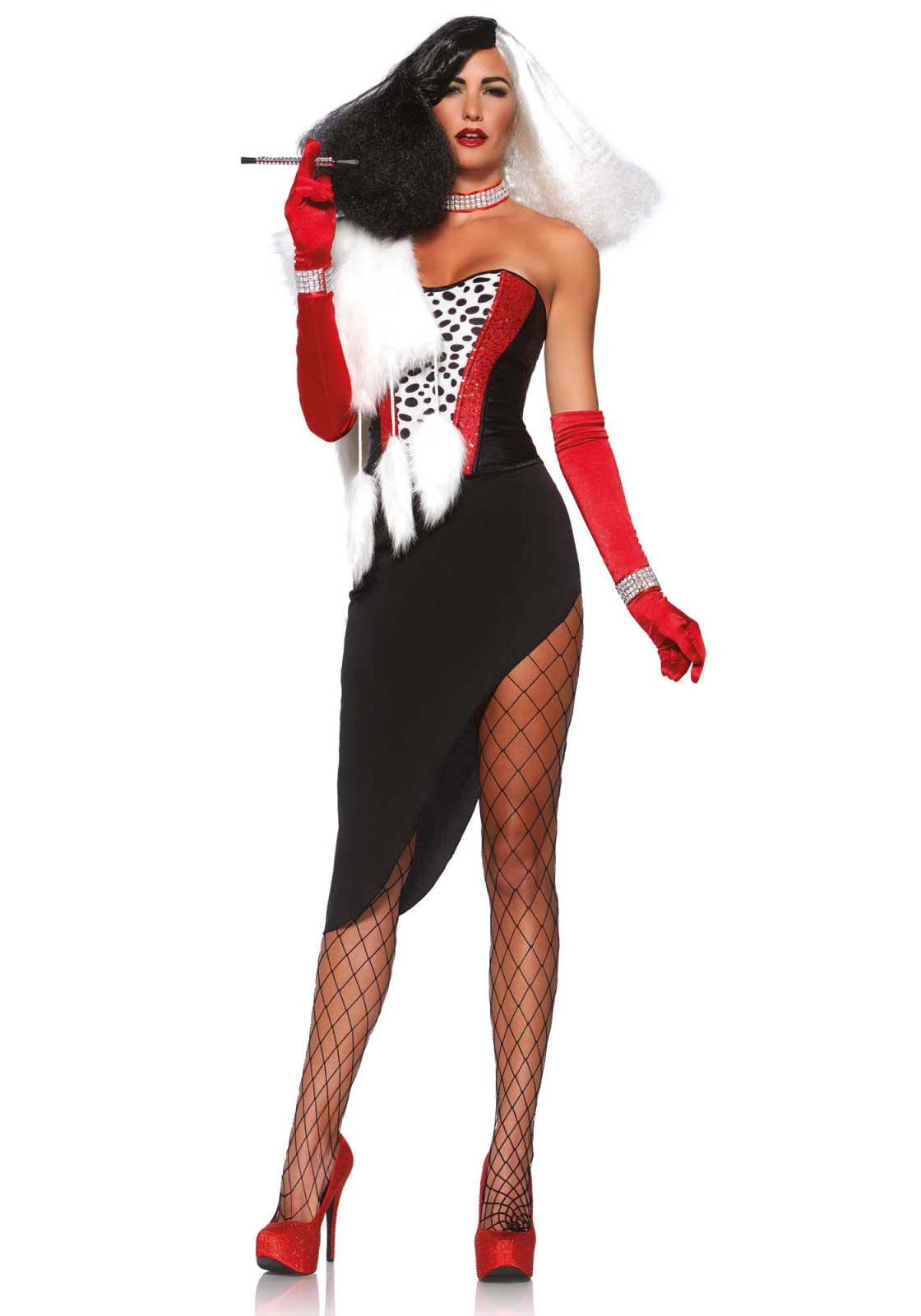 You give a new meaning to the word sneaky. Everybody will tremble in fear of you. This 5PC cruella costume includes spotted bustier with sequin detail, asymmetrical skirt, faux fur wrap, faux rhinestone choker necklace and wrist cuffs. The pantyhose, gloves and wig are not included. The skirt length measured in from the short side is 35 cm (Size Small).