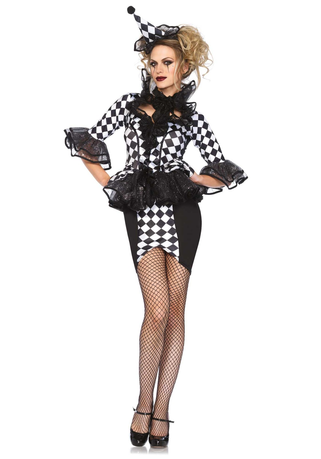 Of course you are the spiciest act of the circus. Without a doubt. This 3PC circus costume includes a dress with glitter peplum skirt and ruffle stay up collar, bow choker and matching hat. Please take note that the gloves and pantyhose are not included. The length of size Small, measured from the shoulder is 94cm / 37inch. The model has a length of 178 cm/ 70 inch and is wearing a size S.