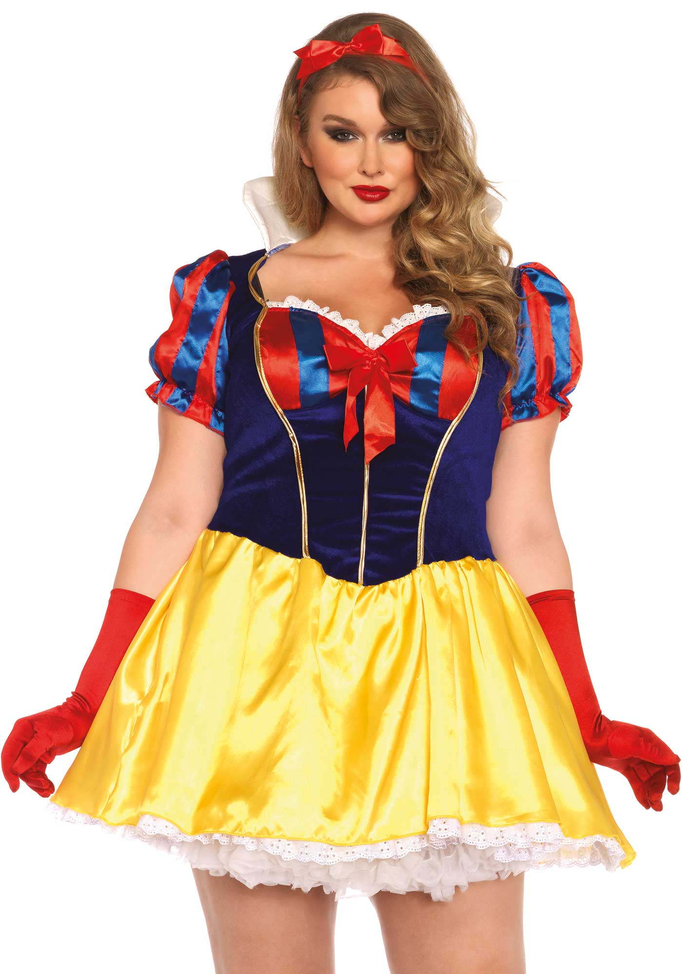 Don't eat any apple, one might be poisoned. This 2PC fairy-tale snow white costume includes a dres with a velvet bodice and bow headband. Please take note that the petticoat, socks and gloves are not included. The length of size 1XL-2XL, measured from the shoulder is 94cm / 37inch. The model has a length of 185 cm/ 73 inch and is wearing a size 1XL-2XL.