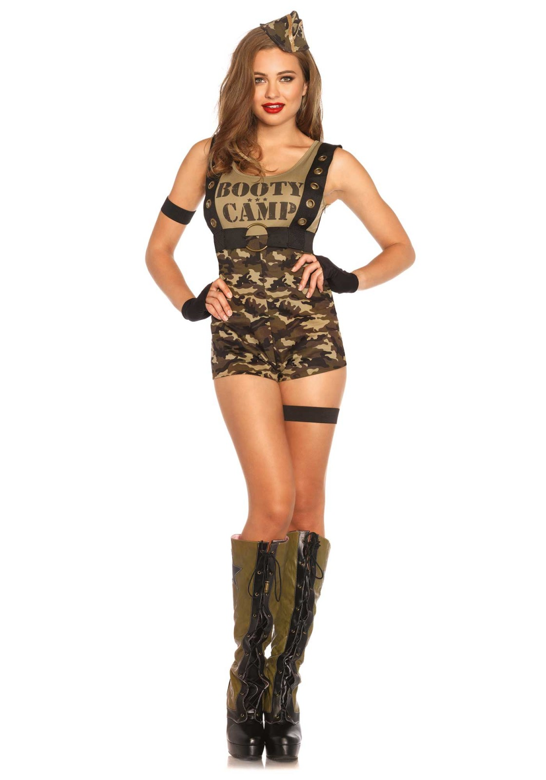 Bootcamp is a fysical and mental challenge. Survive the jungle in style. This 6PC camouflage costume includes a romper with oversized grommet suspenders, harness belt, arm band, garter, fingerless gloves and matching hat.