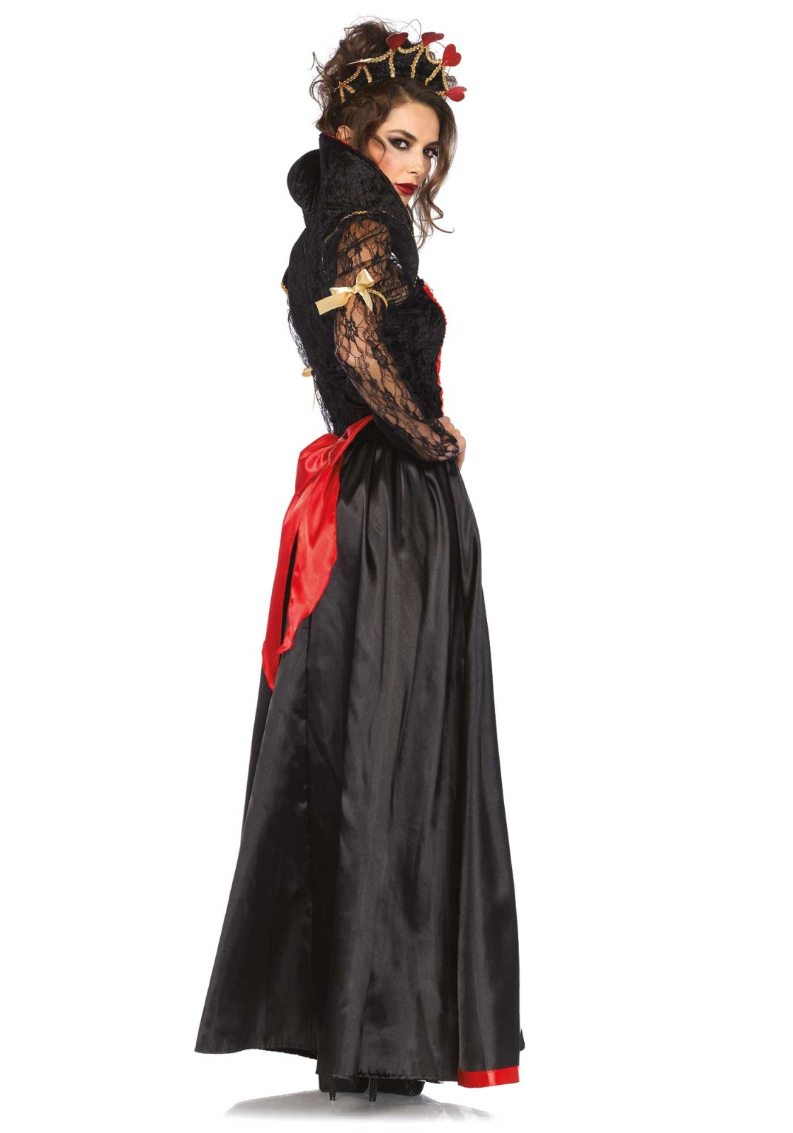 Fairytales do not exist. Or do they? Create your own story with this 2PC Wonderland costume. Includes a chevron striped long gown with lace sleeves and stay up collar and crown headband. Please take note that the wand is not included.