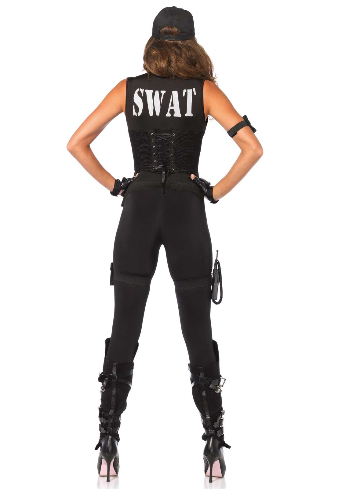 You are only dispatched in case of extreme crimes. Weapons are not necessary when you look this good. This 5PC swat costume includes a zip up catsuit with badge detail, attached multi strap faux vest with corset cincher back, pocket arm strap, utility garters with toy walkie talkie, belt and matching hat. Please take note that the gloves are not included.