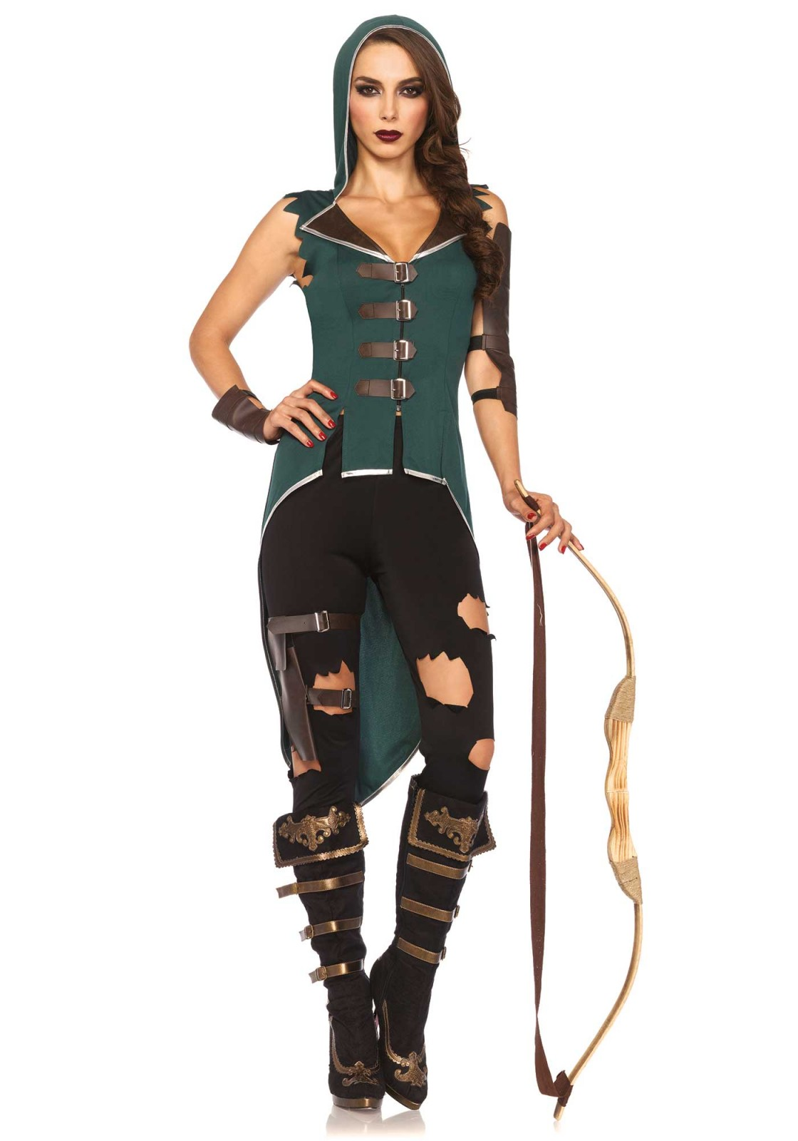 Robin Hood's shows its true rebel heart with this costume. This 5PC Rebel Robin Hood costume set includes a hooded top with high front, low back and buckle closures, tattered leggings, faux leather arm cuffs and wrist cuffs, and matching sheath leg garter. Please take note that the bow is not included.