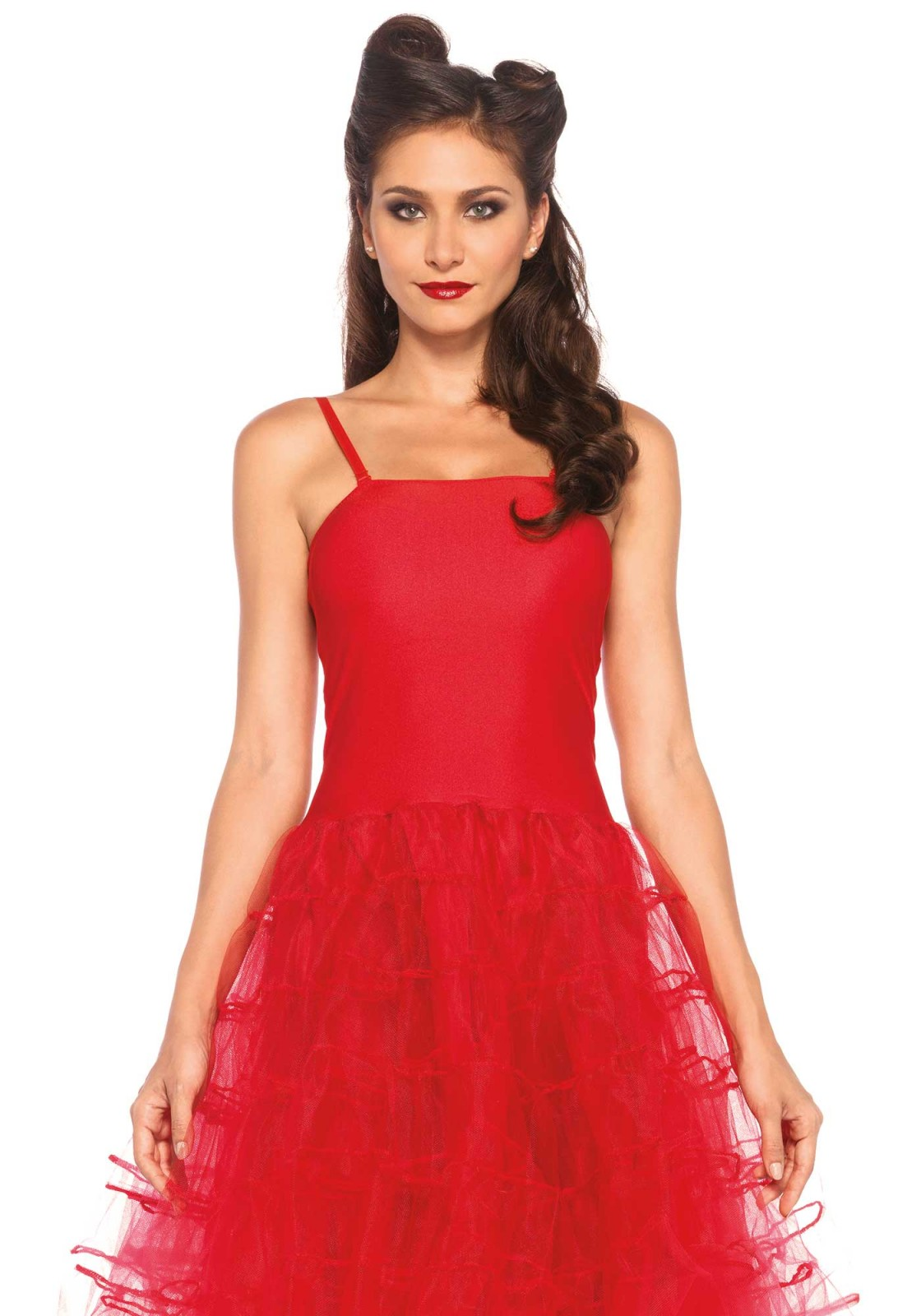 This rockabilly swing dress takes you back to the 50s. This dress has a tulle skirt and optional straps and can be worn with several accessories kits. Please take not that the gloves are note included. The length of size S, measured from the shoulder is 96cm / 38inch. The model has a length of 178 cm/ 70 inch and is wearing a size S. This dress comes with adjustable straps.