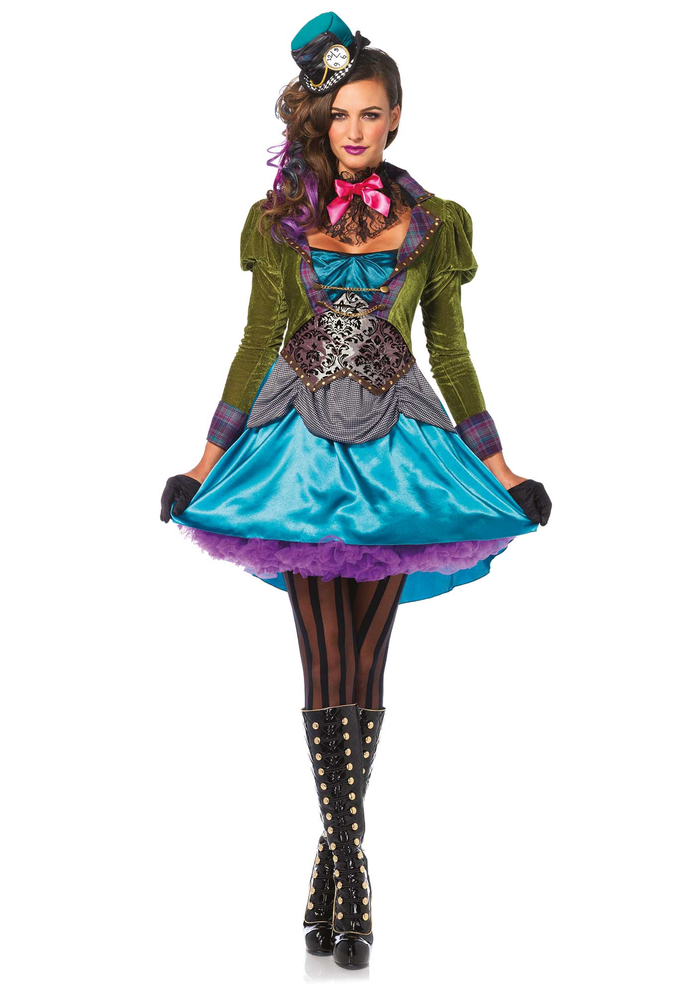<p>Mad Hatter from Wonderland never looked this good! This luxurious costume has lots of details. This 3PC fairy-tale costume is a luxurious version of the Mad Hatter character. This costume set includes a high/low velvet and satin coat dress with houndstooth pickings and brocade panel details, a lace ruffle neck piece, and a mini clock top hat.</p>  <p>The gloves and pantyhose are not included.</p>  <p>The length of size Small, measured from the shoulder is 82 cm/ 32 inch at the front and 105 cm/ 41 inch at the backside. The model has a length of 178 cm/ 70 inch and is wearing a size S.</p>