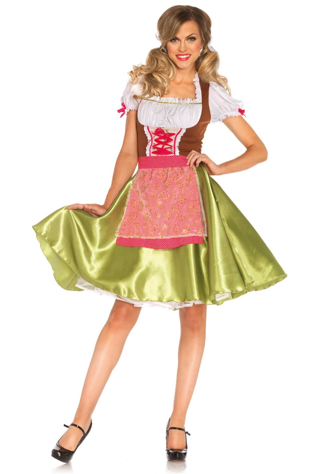 This costume is perfect for beerfest like oktoberfest or Apres Ski. This 2PC Heidi costume includes a knee length peasant dress with satin skirt and swiss dot apron with sheer floral overlay. Please take note that the white petticoat is not included. The length of size Small, measured from the shoulder is 104cm / 41inch. The model has a length of 178 cm/ 70 inch and is wearing a size S.