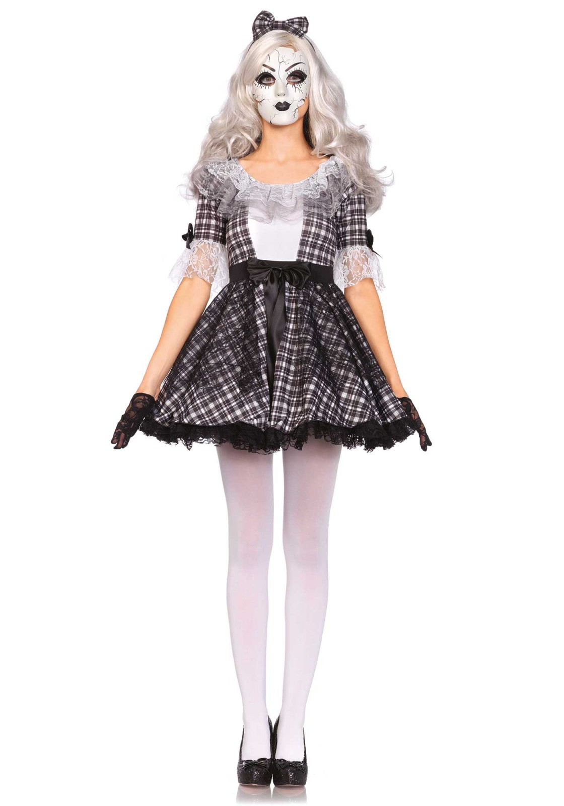 Don't knock over this procelain doll! This 3PC doll costume includes a lace trimmed dress with bows, matching bow headband, and a creepy doll face mask. Please take not that the pantyhose, gloves and wig are not included. The length of size Small, measured from the shoulder is 83cm / 33inch. The model has a length of 178 cm/ 70 inch and is wearing a size S.