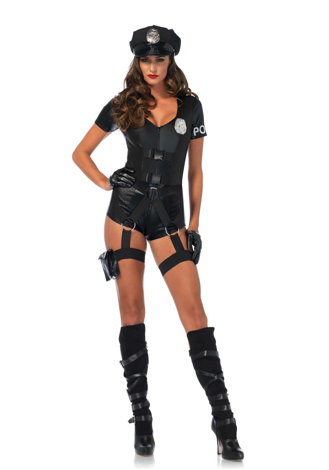3 PC. Flirty Five-0, includes quilted zipper front romper with attached utility belt with O-ring straps and garters, pin-on badge and police hat.