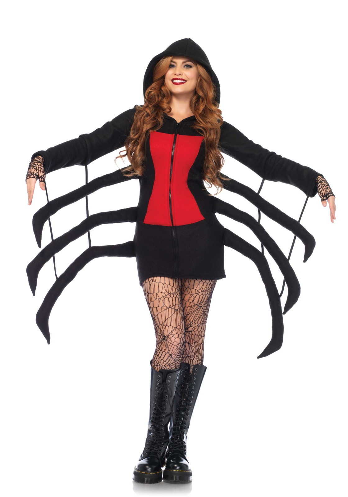 Cozy Spider, features zipper front hooded fleece dress with red danger diamond detail and wiggly spider legs. The length of size Small, measured from the shoulder is 73cm / 28inch. The model has a length of 178 cm/ 70 inch and is wearing a size S.