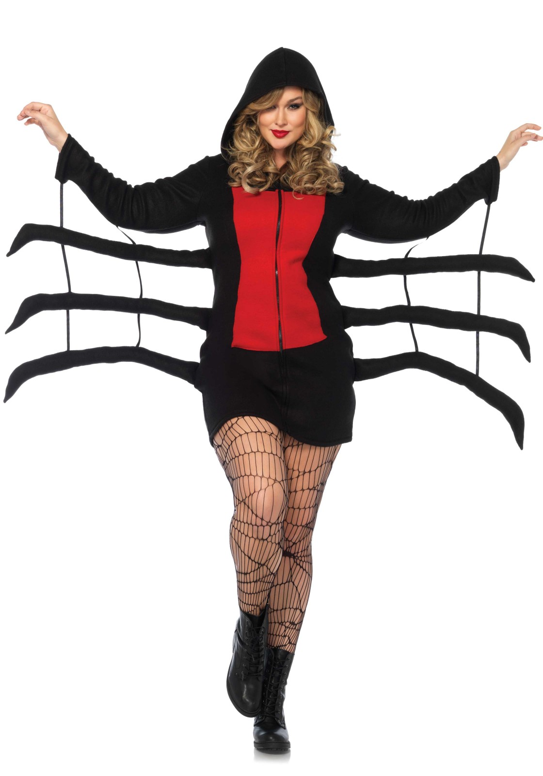 Cozy Spider, features zipper front hooded fleece dress with red danger diamond detail and wiggly spider legs. The length of size Small, measured from the shoulder is 95cm / 37inch. The model has a length of 178 cm/ 70 inch and is wearing a size S.