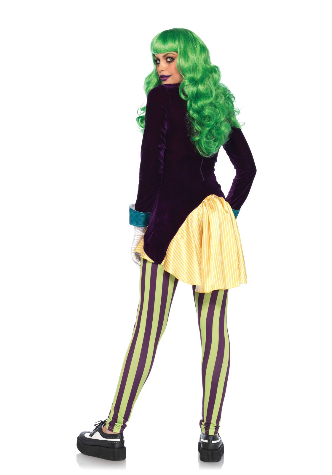 2 PC. Wicked Tricster sequin trimmed velvet and satin high/low zipper back jacket and striped legging.