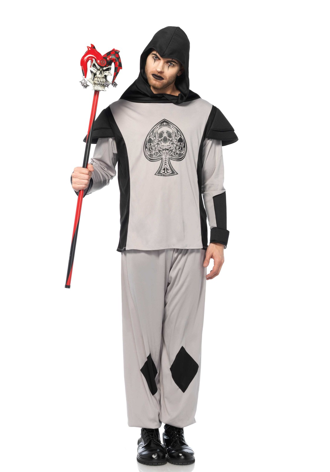 2 PC. Card Guard, includes hooded shirt with card suit detail, foam shoulder caps and pants.