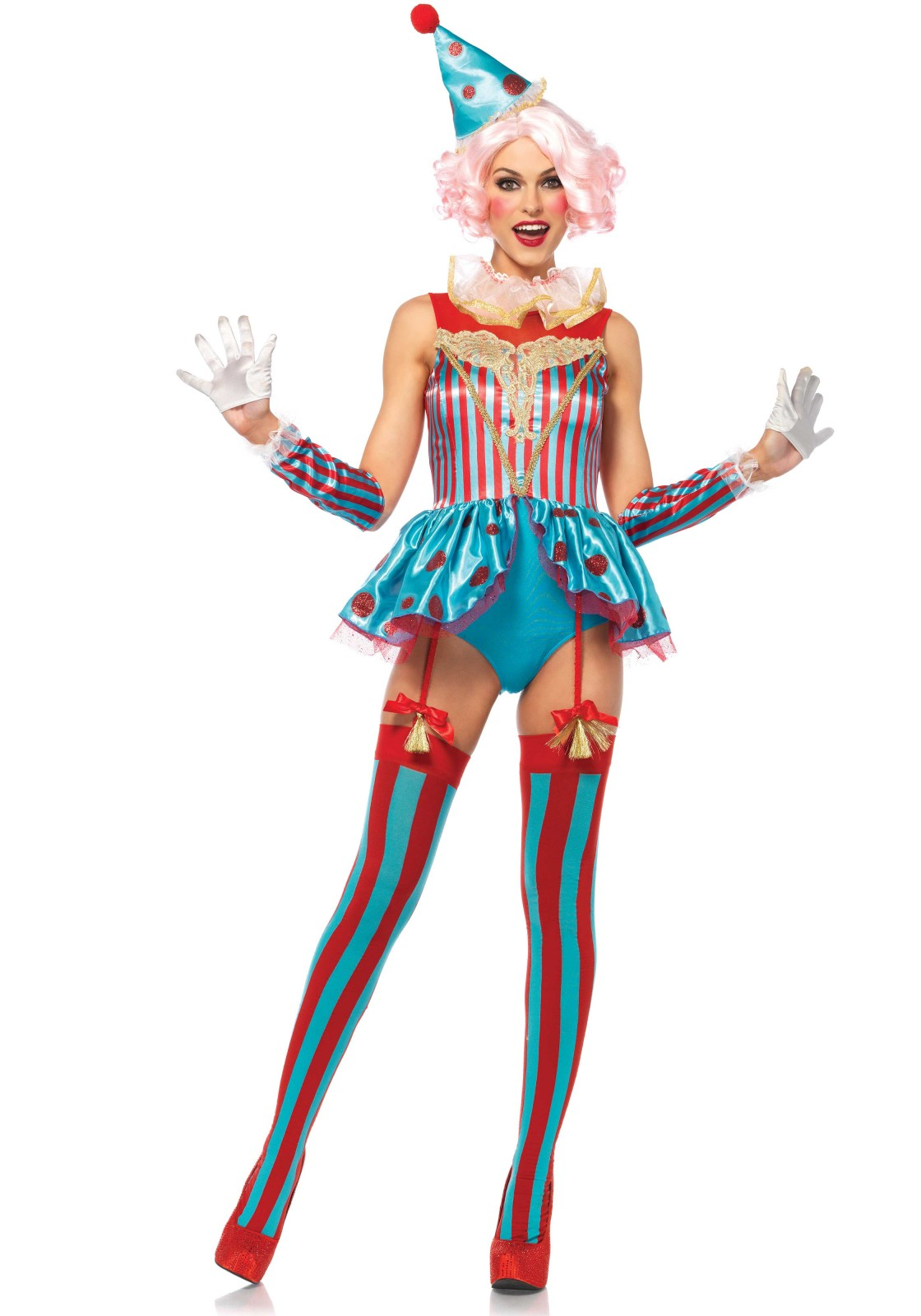 4 PC. Circus Clown costume set, includes a satin garter zipper back teddy with glitter polka dot peplum skirt and lace appliqué accent, ruffle neck piece,  arm cuffs and matching clown hat.