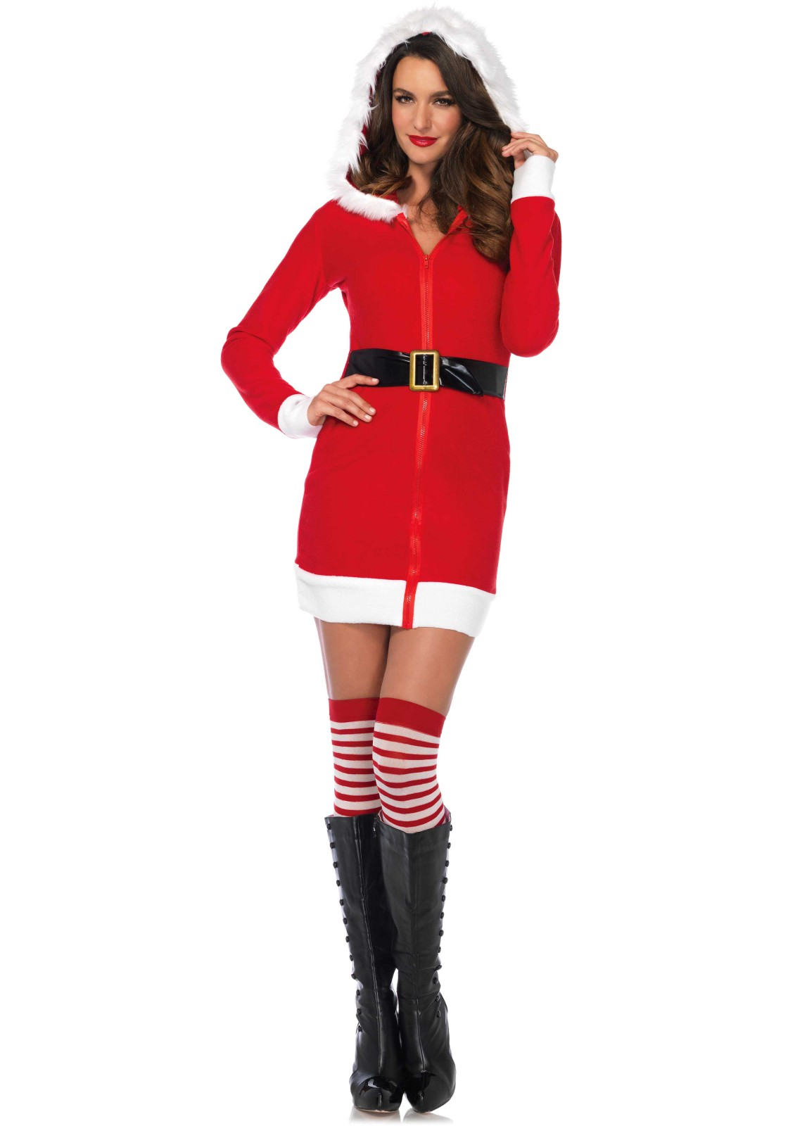 Cozy Santa' fleece dress with a zipper at the front, belt accent and hood with a fur trim.